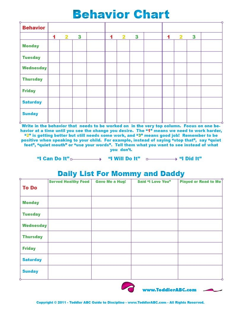 Free Printable Toddler Behavior Chart For 1, 2, 3, 4 And 5 Year Olds - Reward Charts For Toddlers Free Printable