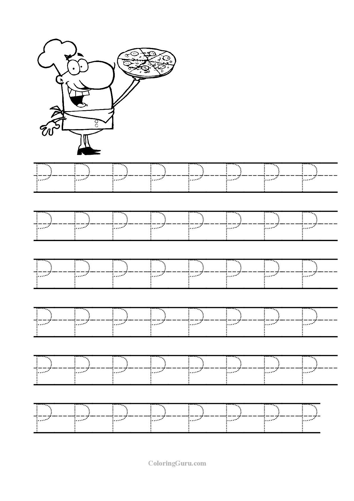 Free Printable Tracing Letter P Worksheets For Preschool | Tracing - Free Printable Preschool Worksheets Tracing Letters