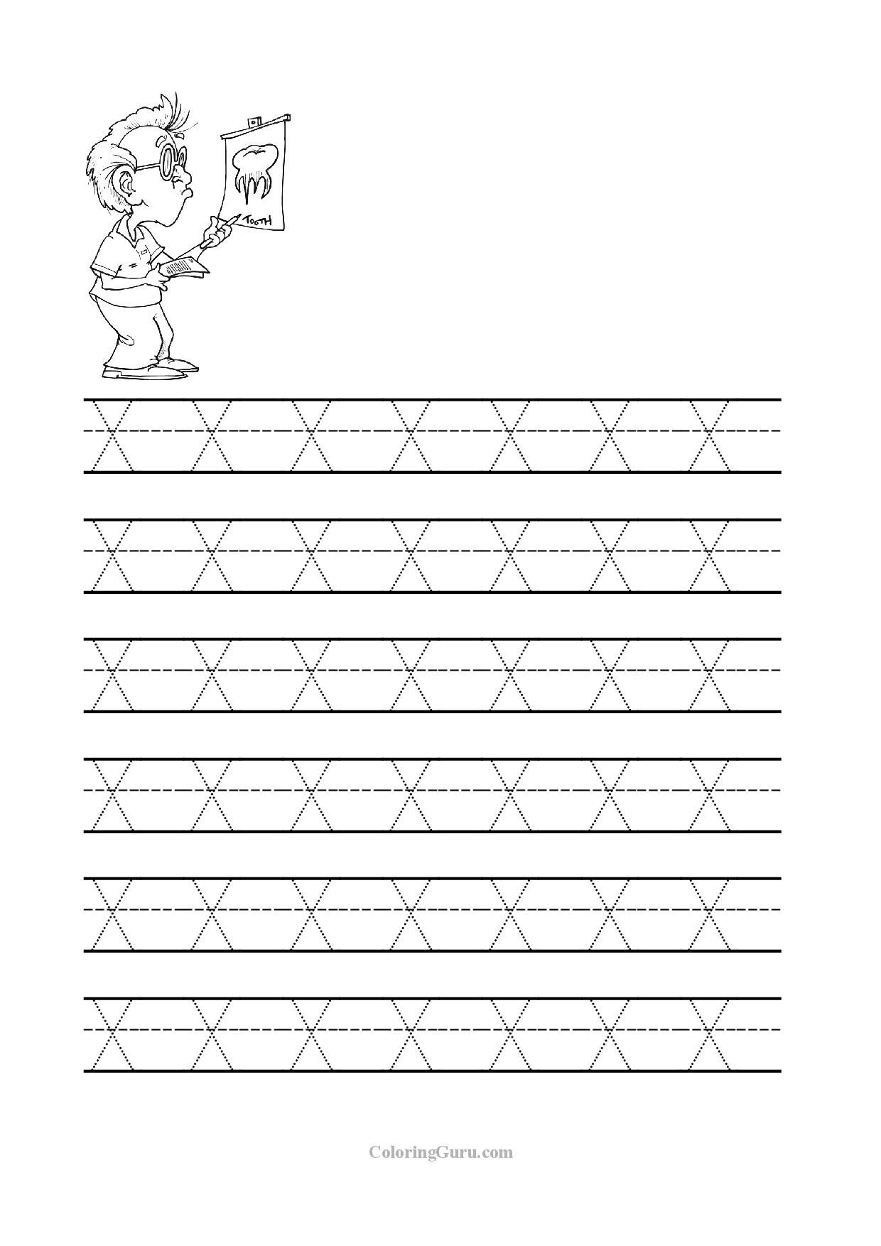 Free Printable Tracing Letter X Worksheets For Preschool | Abc 123 - Free Printable Name Tracing Worksheets
