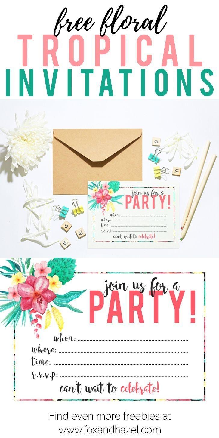 Free Printable Tropical Party Invitation   Diy   Parties   Luau - Hawaiian Party Invitations Free Printable