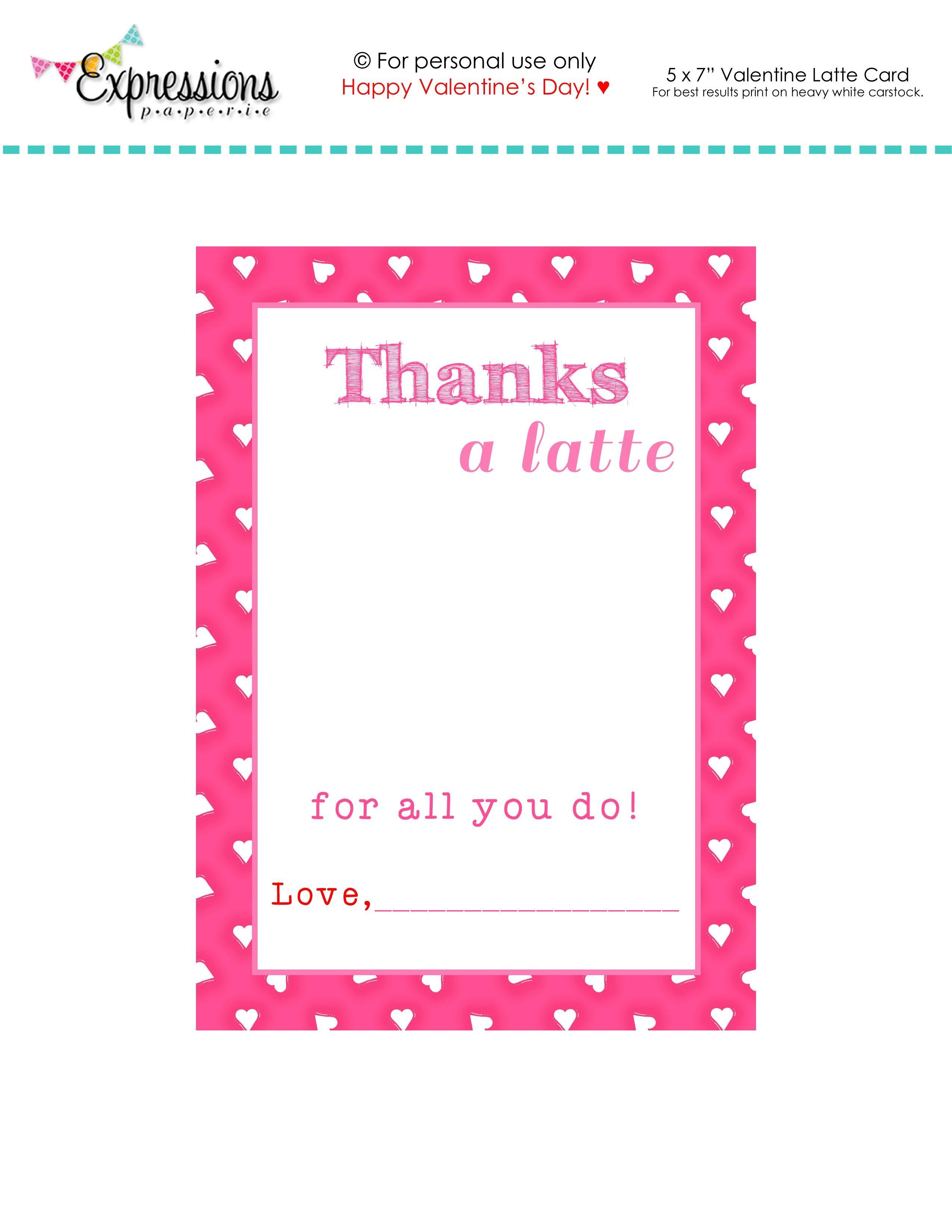 "Free Printable Valentine ""thanks A Latte"" Teacher Card | Expressions - Free Printable Teacher's Day Greeting Cards"