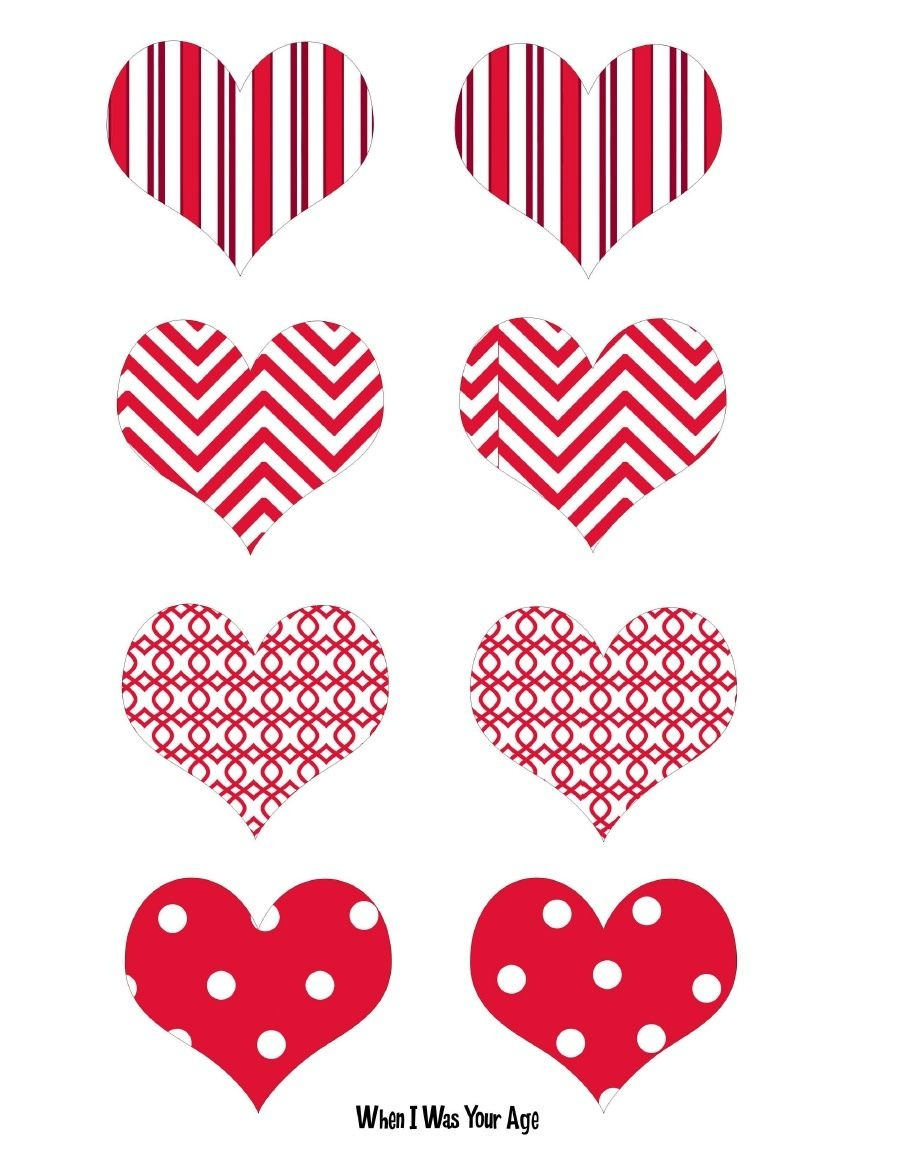 Free Printable Valentine's Day Cupcake Hearts. | 4Th Of July Etc - Free Printable Valentine Heart Patterns