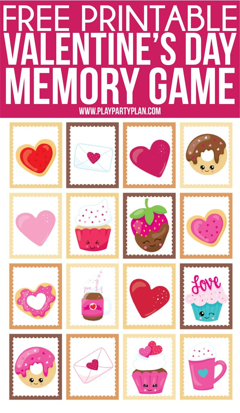 Free Printable Valentine's Day Memory Games For Kids - Play Party Plan - Free Printable Matching Cards