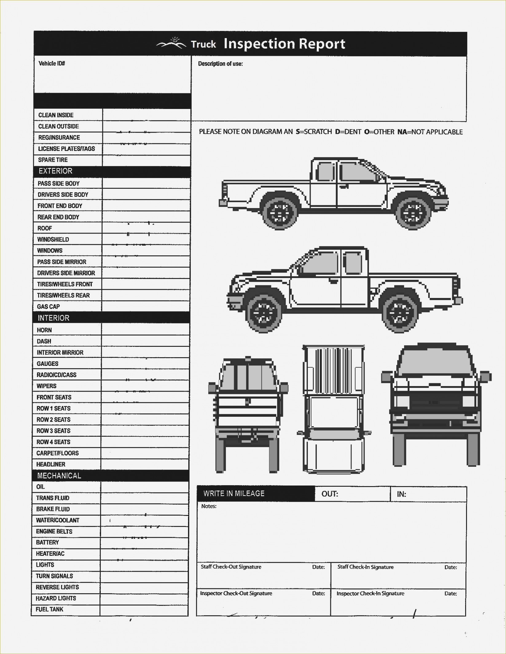Free Printable Vehicle Inspection Form Download Free Used Car Report - Free Printable Vehicle Inspection Form