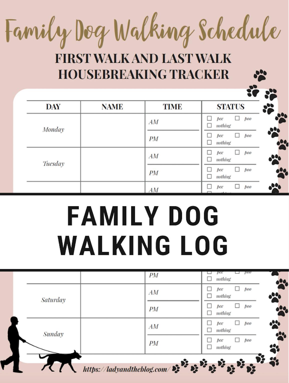 Free Printable Walking The Dog Log - How To Set A Schedule And - Free Printable Walking Log