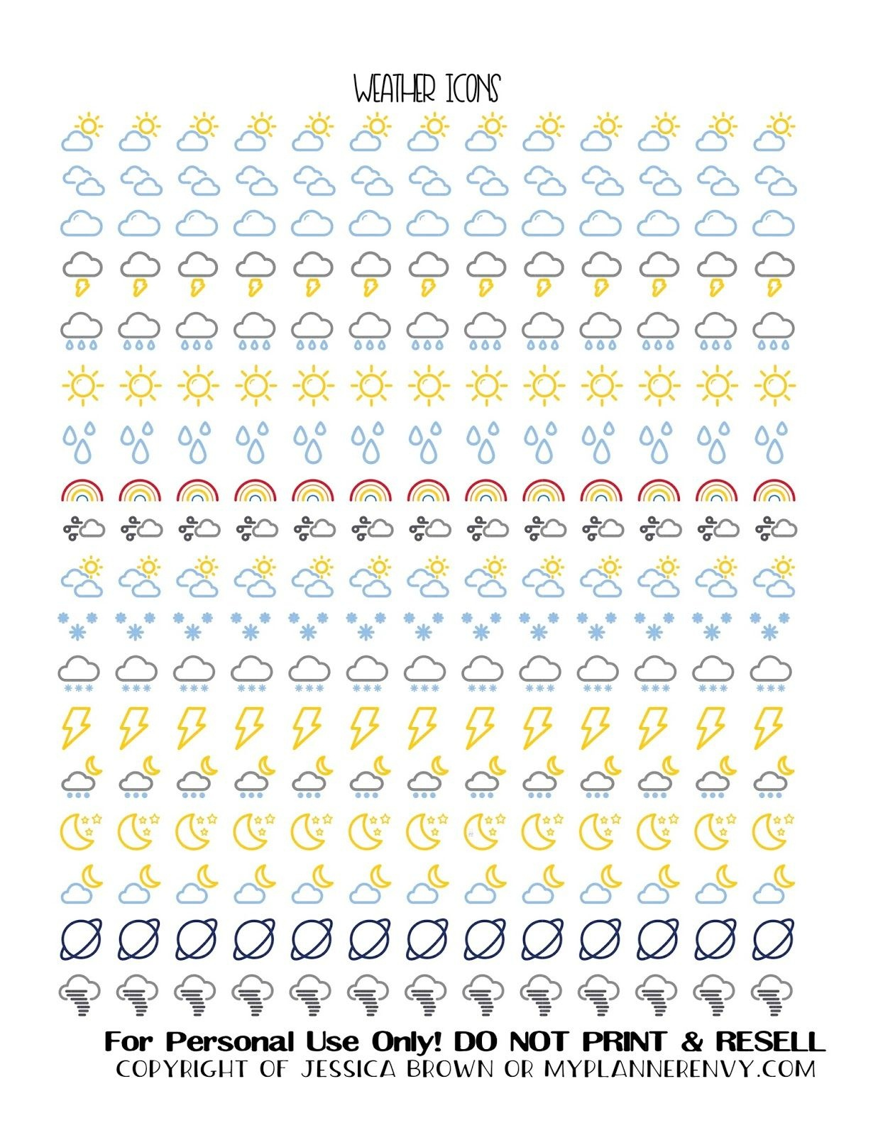 Free Printable Weather Icon Stickers From Myplannerenvy   Mijn - Free Printable Icons