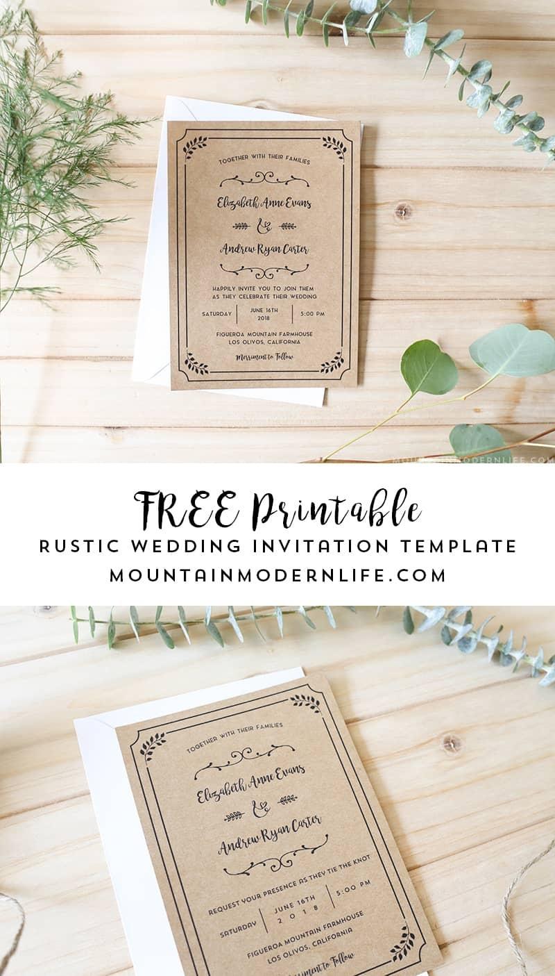 Free Printable Wedding Invitation Template - Free Printable Wedding Cards
