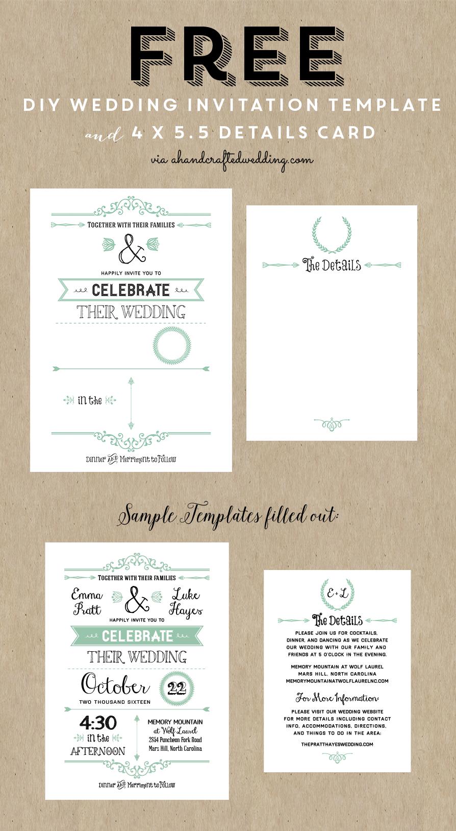 Free Printable Wedding Invitation Template | Wedding | Free Wedding - Free Printable Wedding Cards