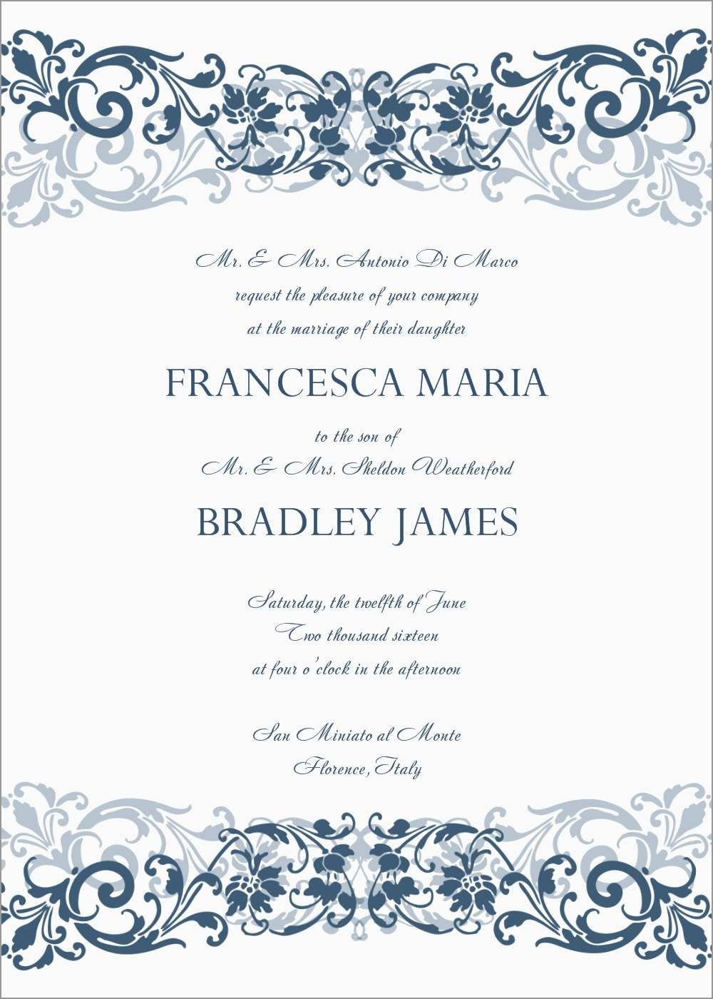 Free Printable Wedding Invitation Templates For Microsoft Word - Free Printable Wedding Invitation Templates For Microsoft Word
