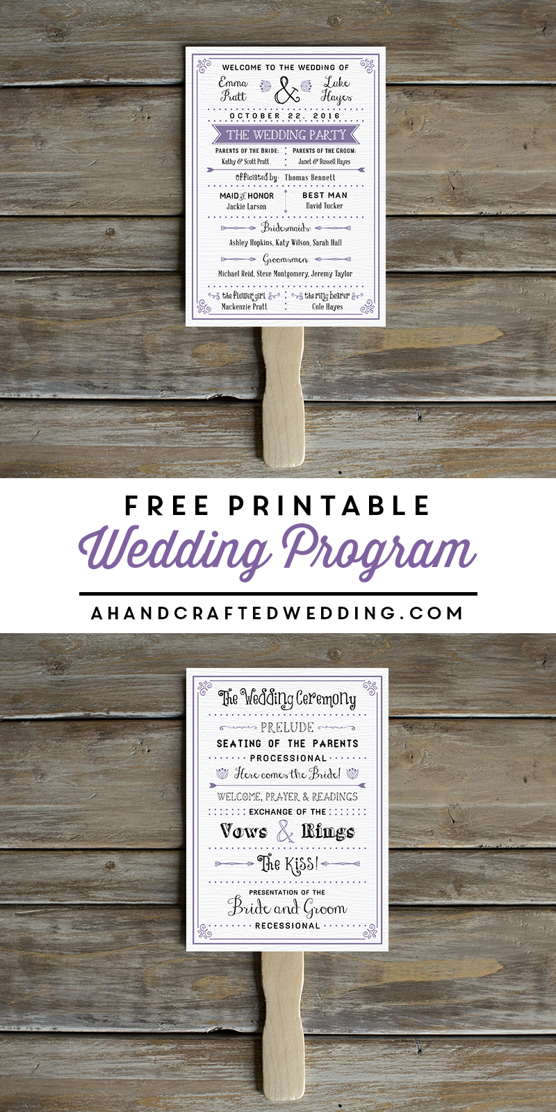 Free Printable Wedding Program | Crafty 2 The Core~Diy Galore - Free Printable Fan Wedding Programs