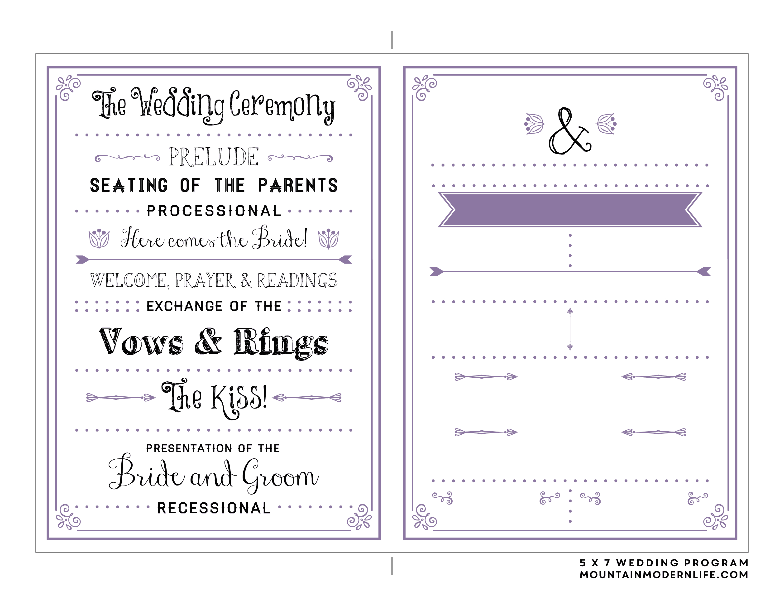 Free Printable Wedding Program | Mountainmodernlife - Free Printable Fan Wedding Programs