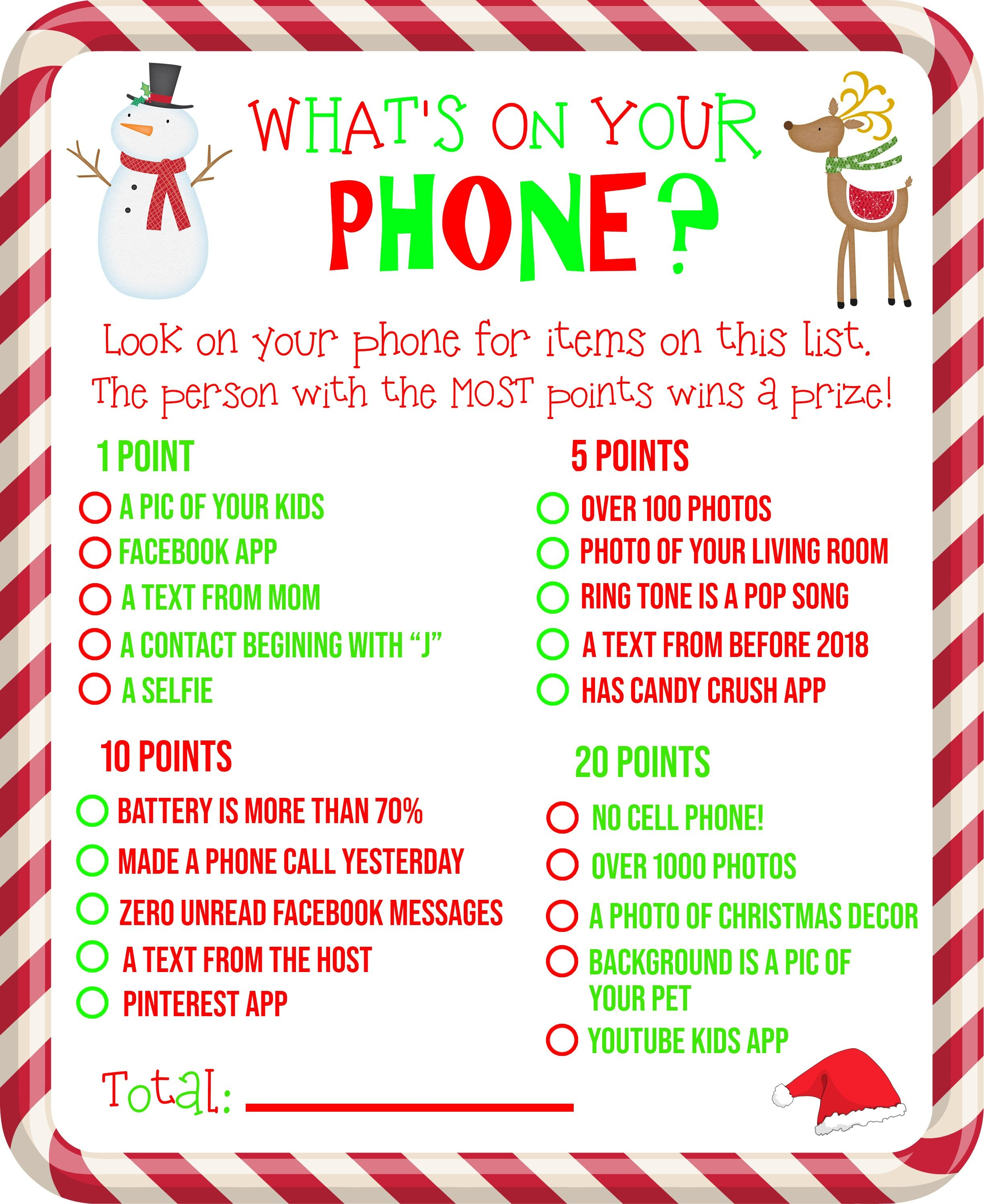Free Printable! What's On Your Phone Christmas Party Game - Free Games For Christmas That Is Printable