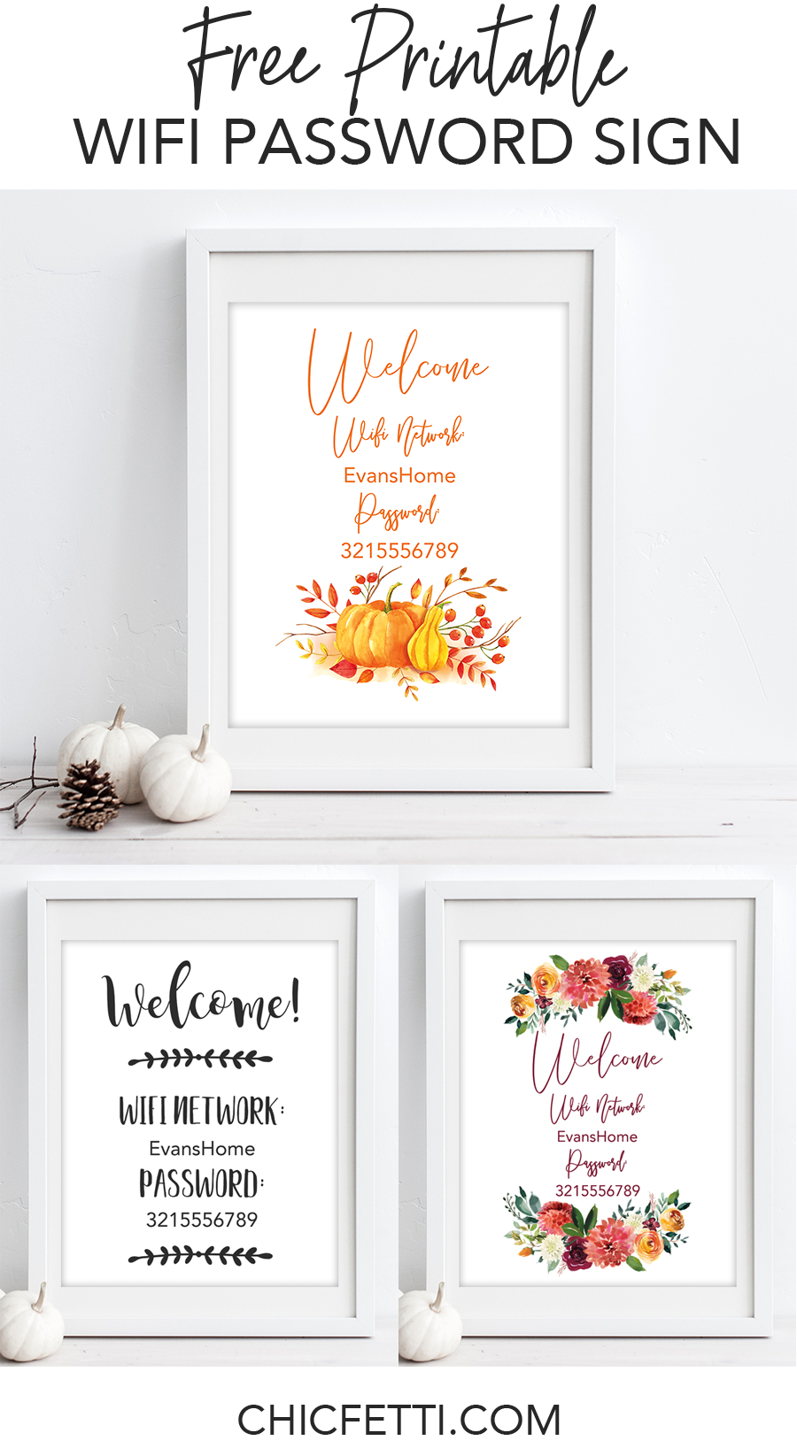 Free Printable Wifi Password Signs For Thanksgiving | Free - Free Printable Wifi Sign