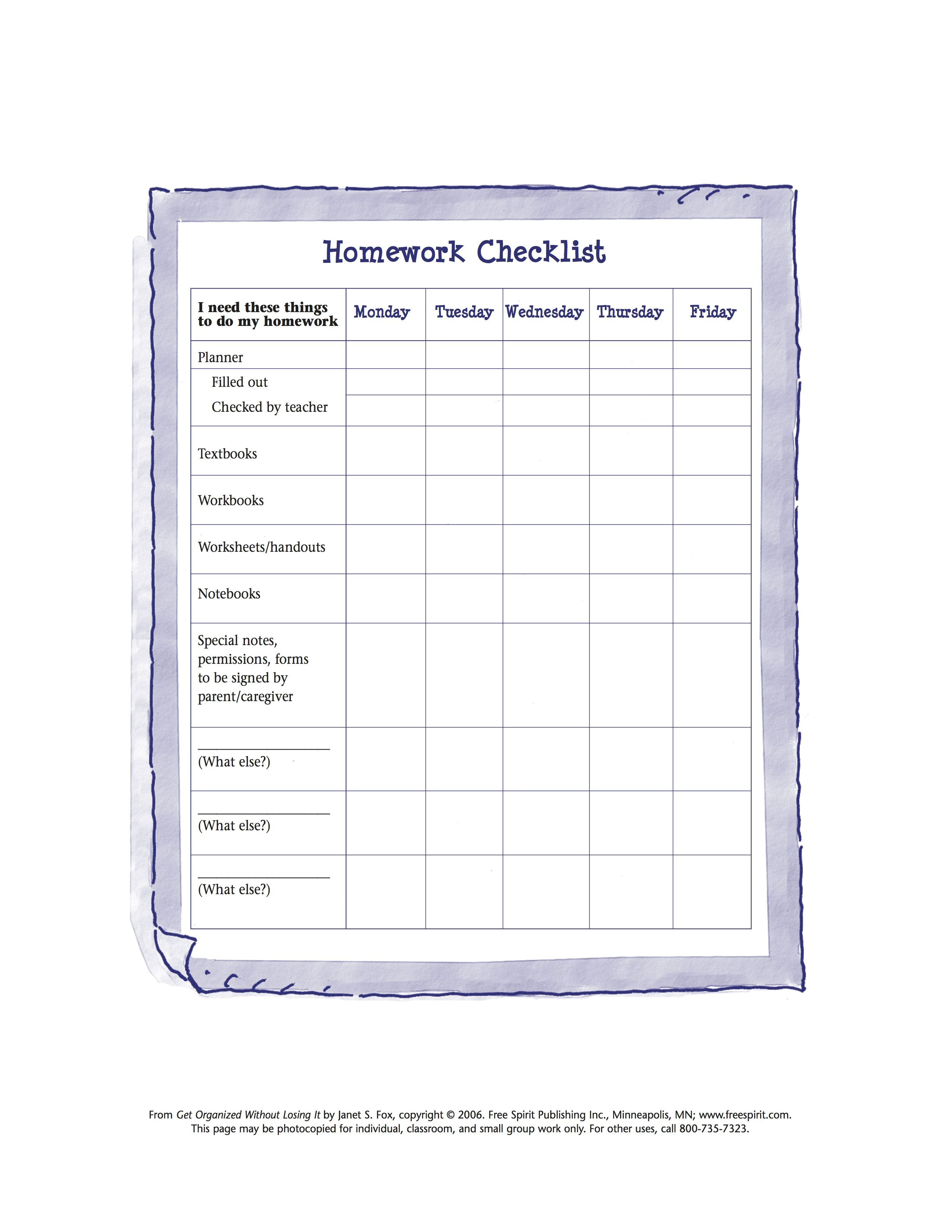 Free Printable Worksheet To Help Kids Organize Tools Needed For - Free Printable Homework Templates