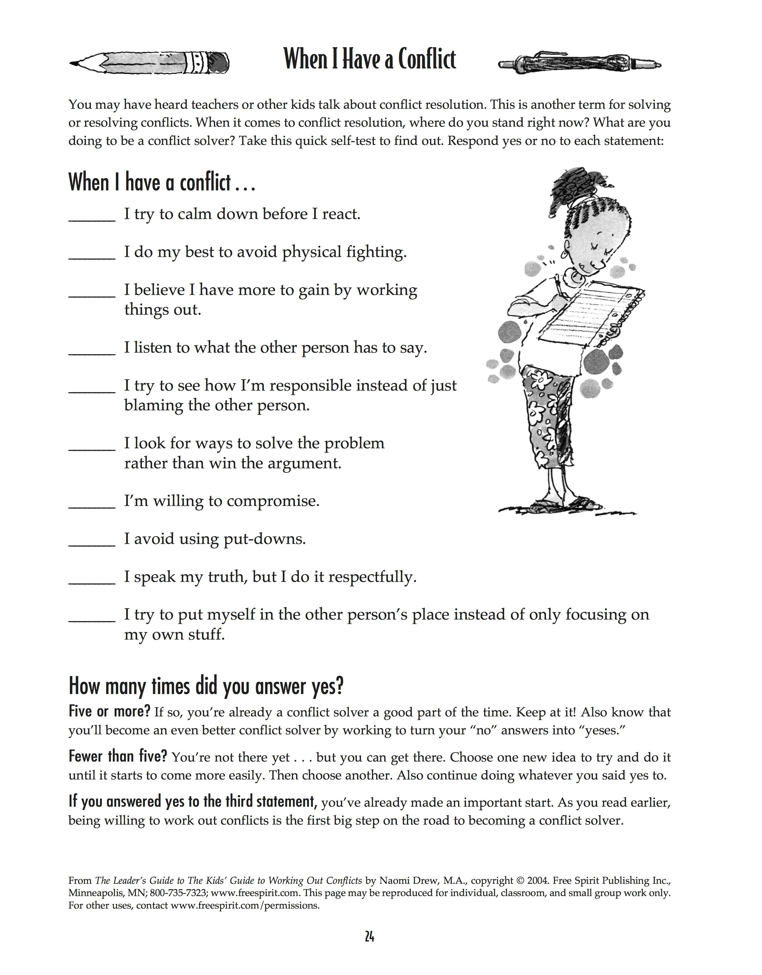 Free Printable Worksheet: When I Have A Conflict. A Quick Self-Test - Free Printable Coping Skills Worksheets For Adults