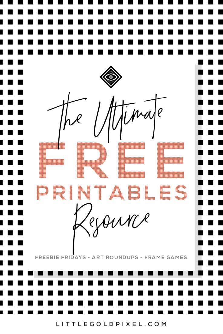 Free Printables • Free Wall Art Roundups • Little Gold Pixel - Free Black And White Printable Art