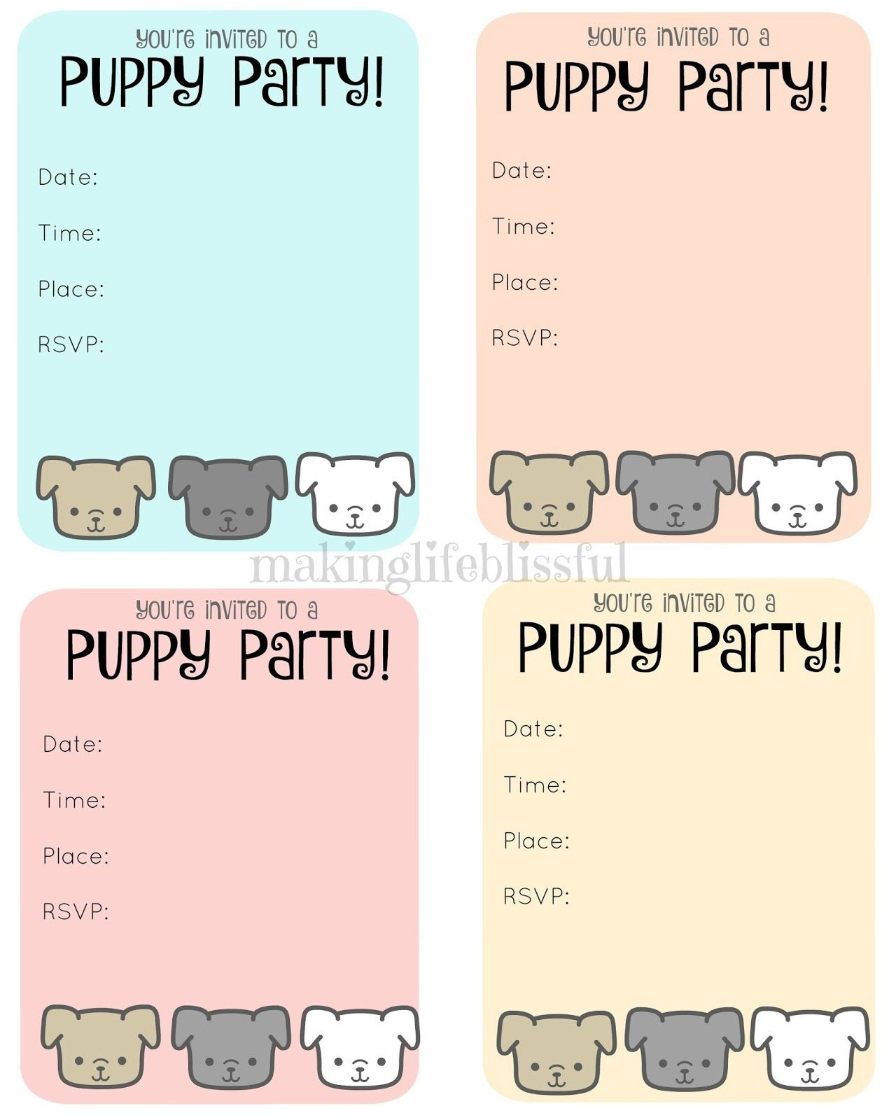 Free Puppy Party Printable Invite | Making Life Blissful | Kids - Free Printable Puppy Dog Birthday Invitations