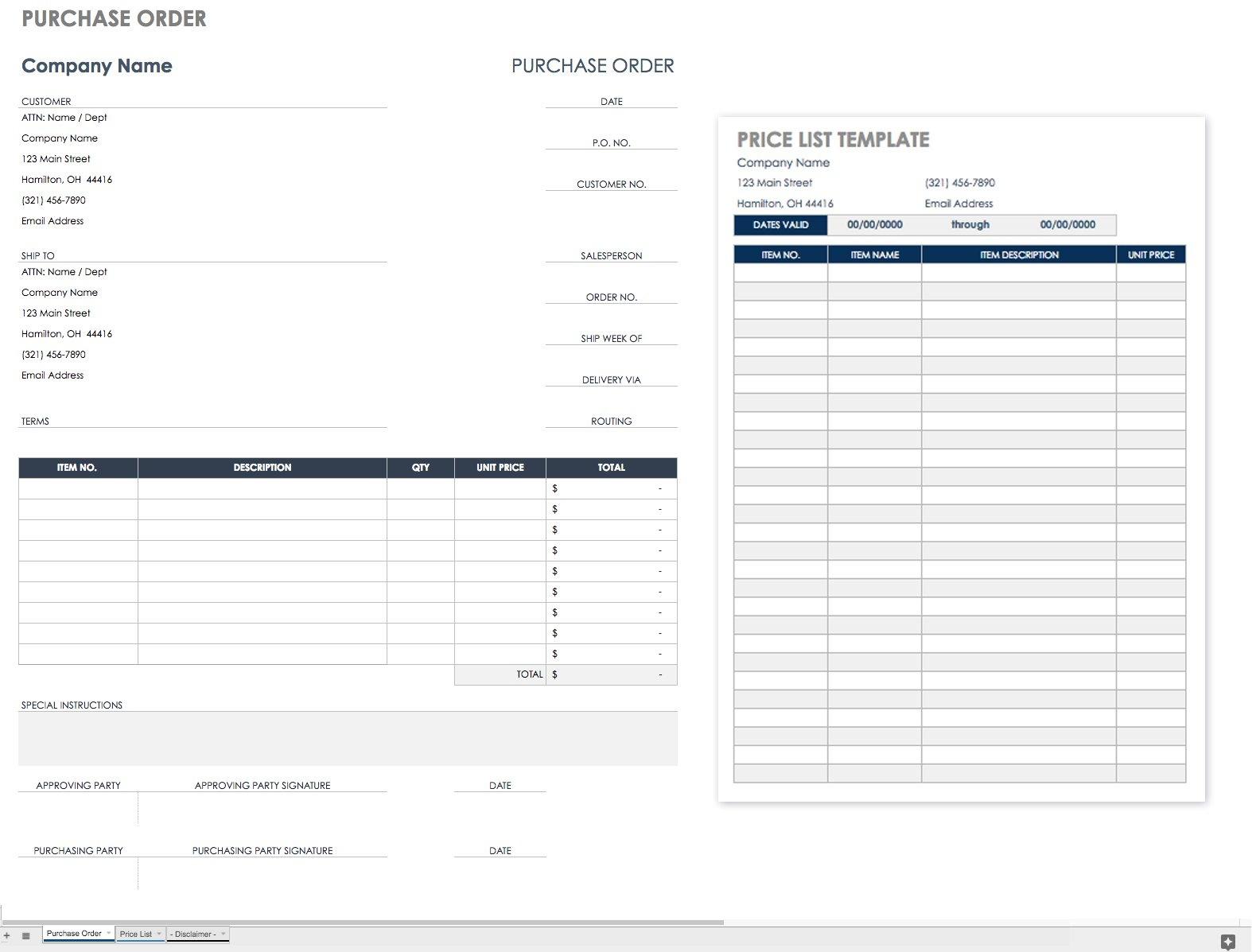 Free Purchase Order Templates | Smartsheet - Free Printable Work Order Template