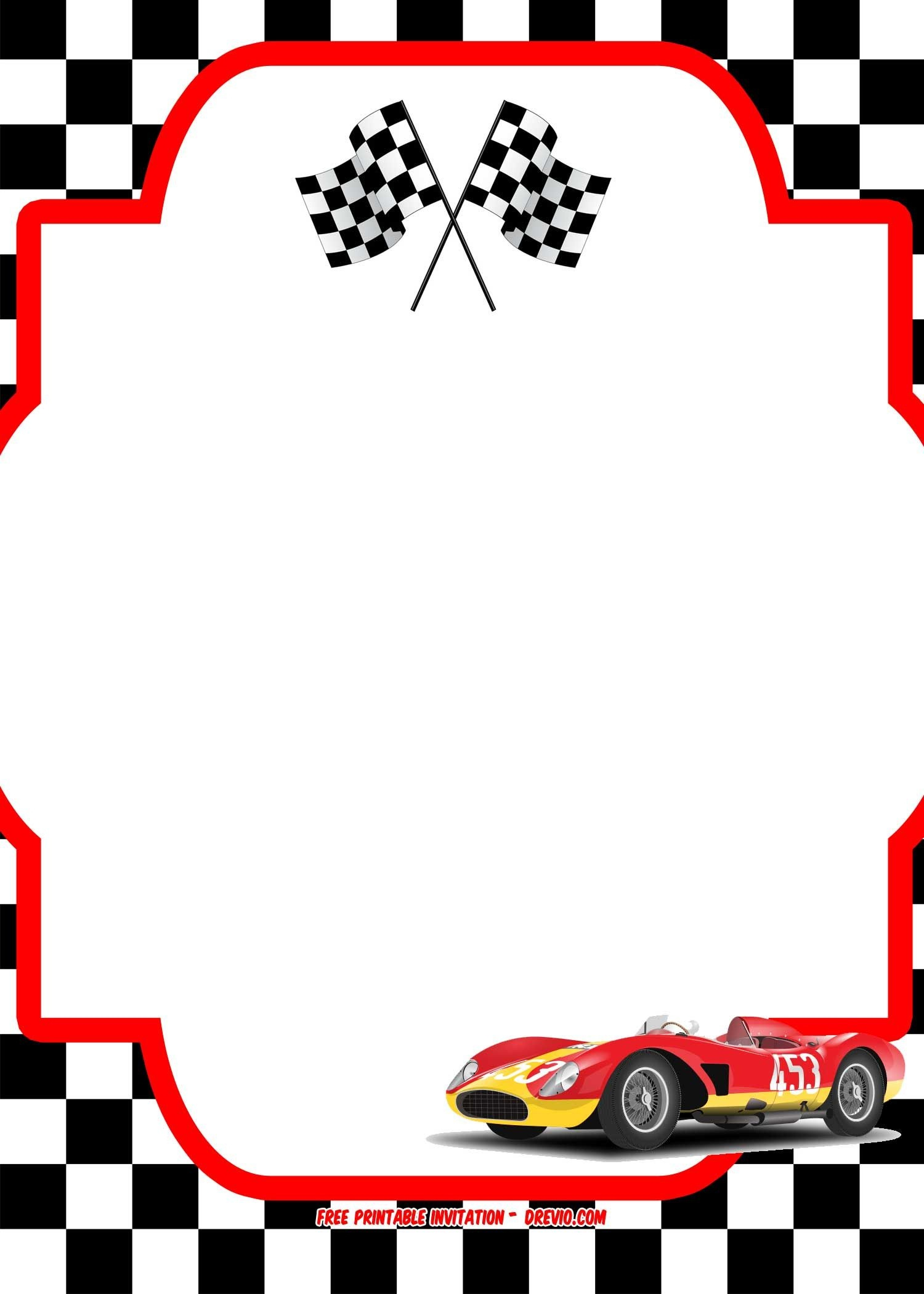 Free Race Car Birthday Invitation Template - Printable | Kids Party - Free Printable Birthday Invitations Cars Theme