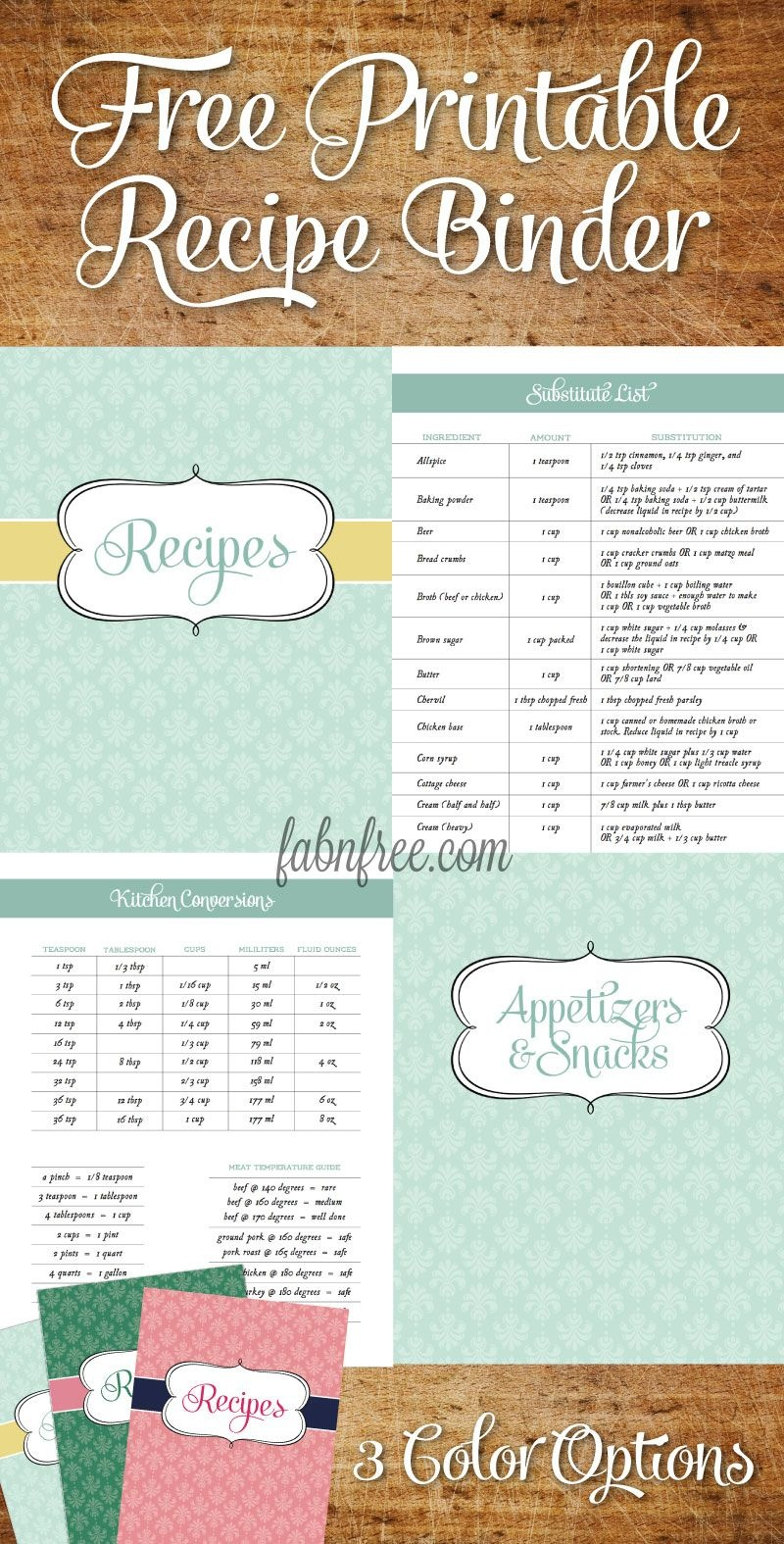 Free Recipe Binder In 3 Color Options | Recipe Binder Ideas - Free Recipe Book Templates Printable