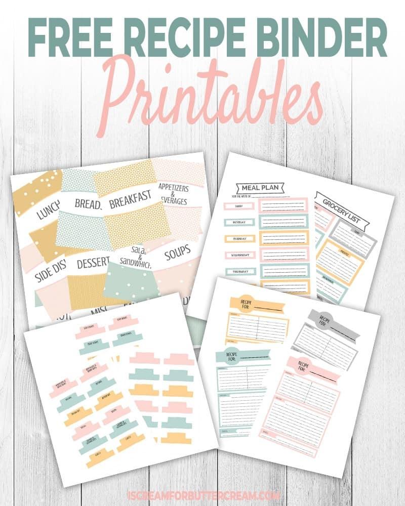 Free Recipe Binder Printables - I Scream For Buttercream - Free Printable Dessert Recipes