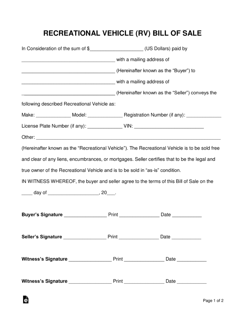 Free Recreational Vehicle (Rv) Bill Of Sale Form - Word | Pdf - Free Printable Bill Of Sale For Trailer