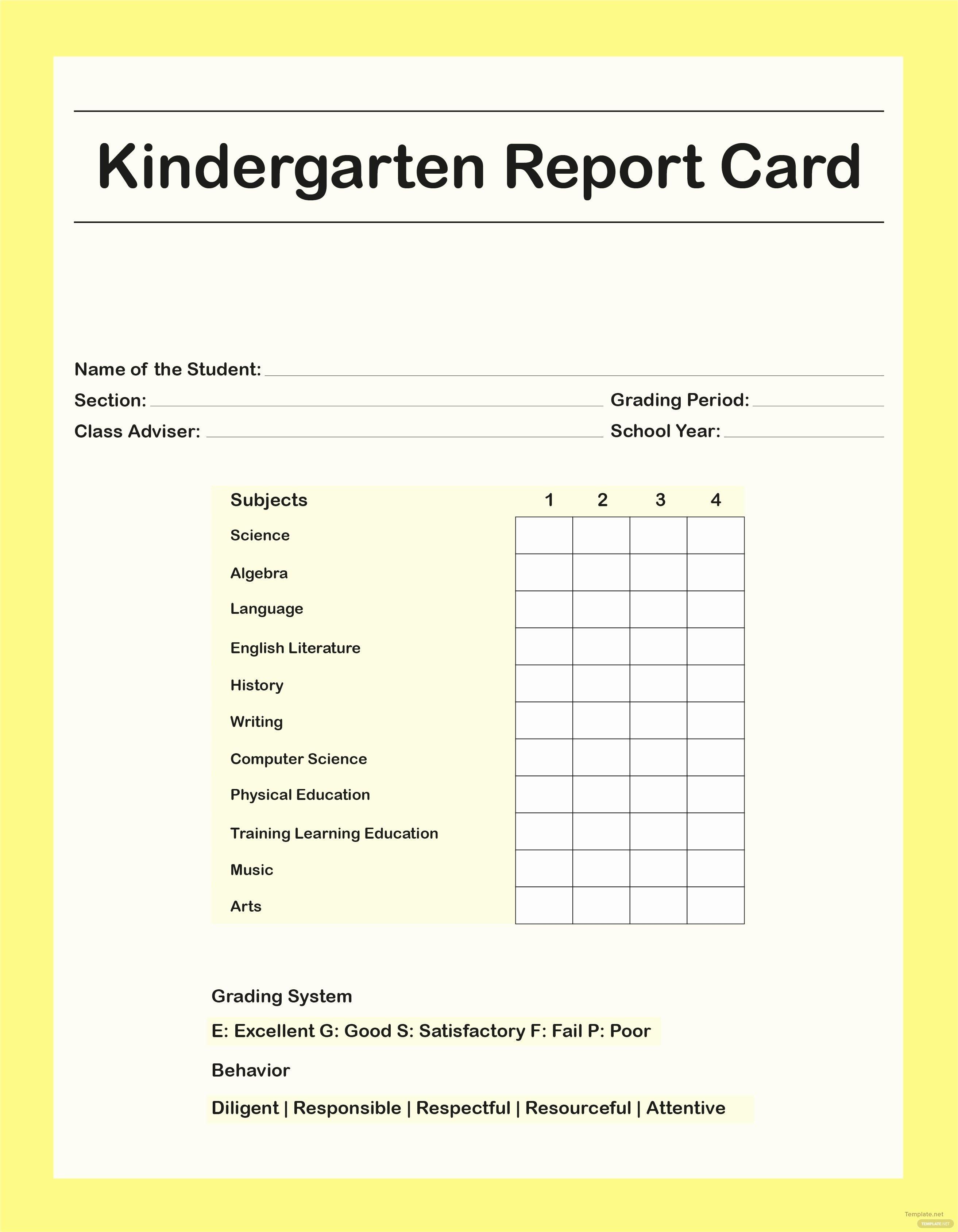Free Report Card Template Blank Kindergarten Grooming   Meetpaulryan - Free Printable Kindergarten Report Cards