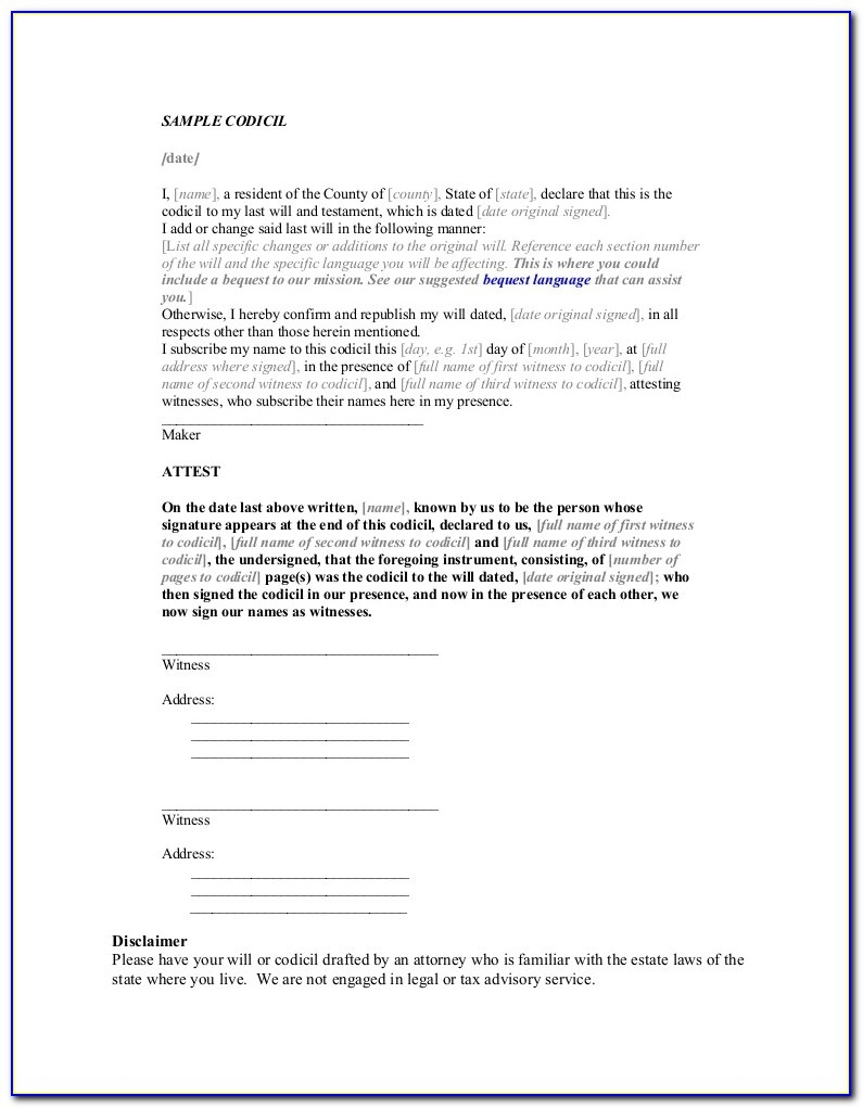Free Sample Codicil Form - Form : Resume Examples #kbpmln1Lex - Free Printable Codicil Form