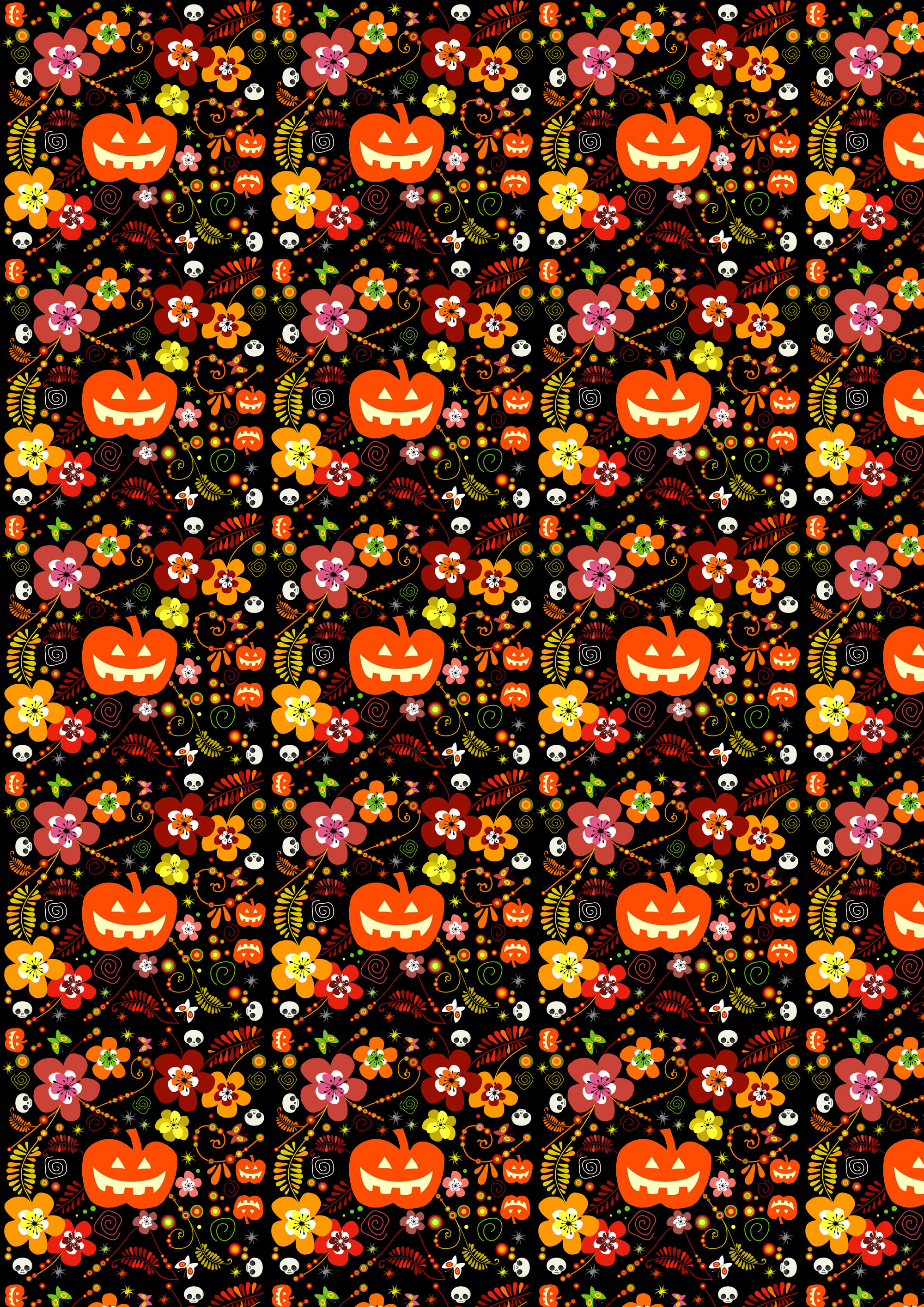 Free Scrapbook Paper: Halloween Pumpkins And Flowers | Rooftop Post - Free Printable Halloween Paper Crafts