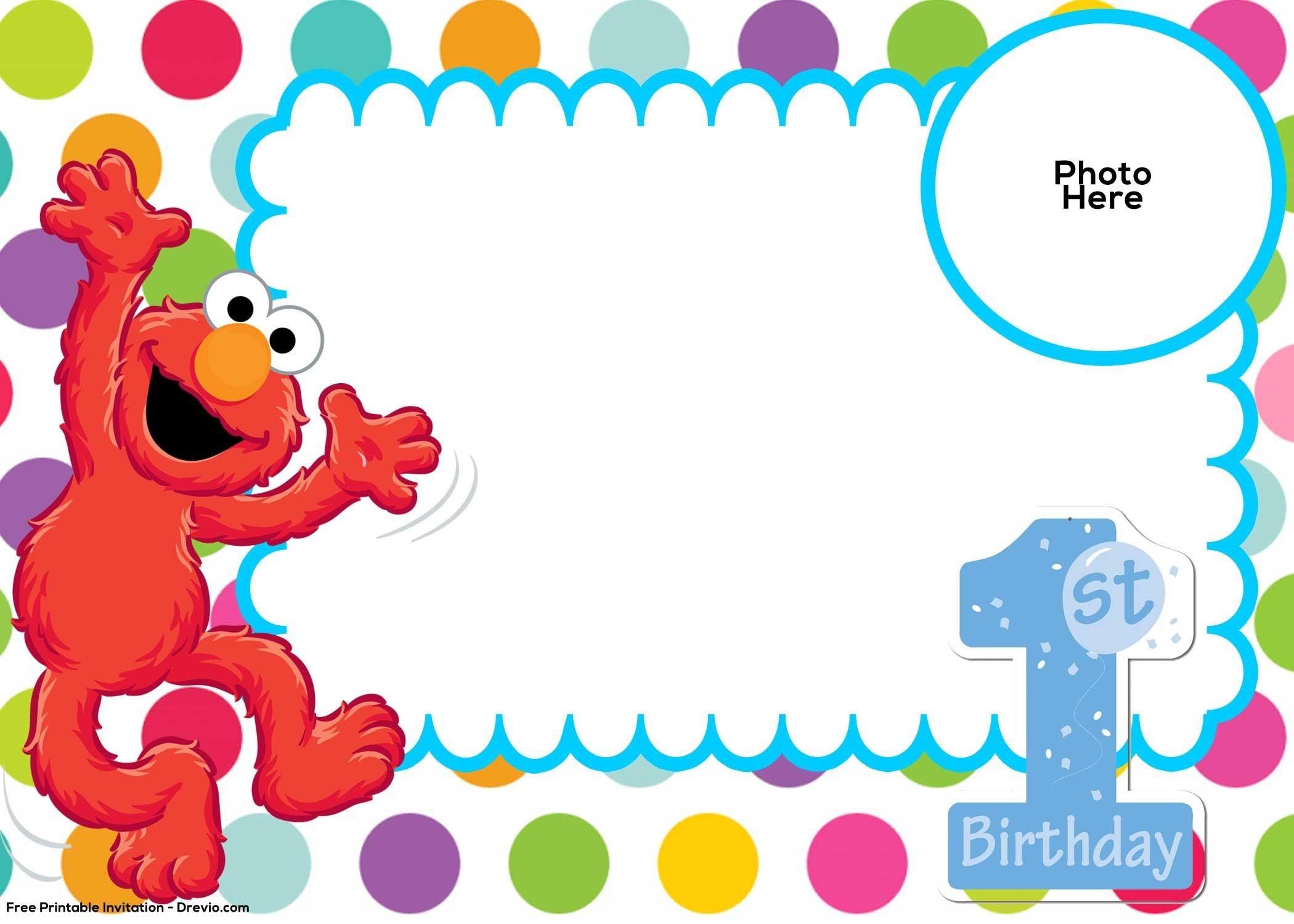 Free Sesame Street 1St Birthday Invitation   Free Printable - Free Printable Sesame Street Cupcake Toppers