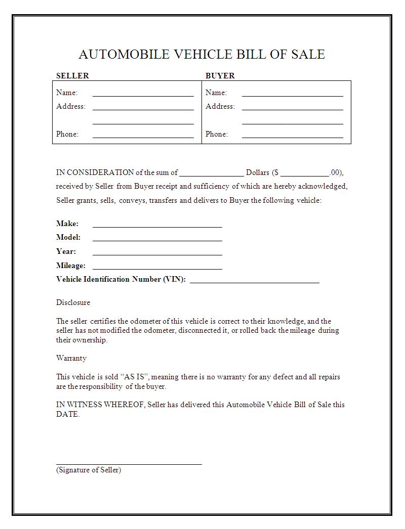 Free Simple Bill Of Sale For Car - Tutlin.psstech.co - Free Printable Bill Of Sale For Car