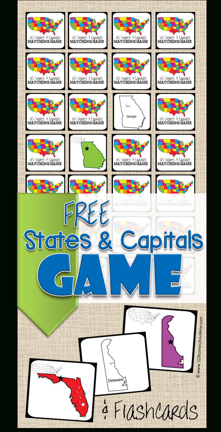 Free State Capitals Game   123 Homeschool 4 Me - Free Printable States And Capitals Worksheets