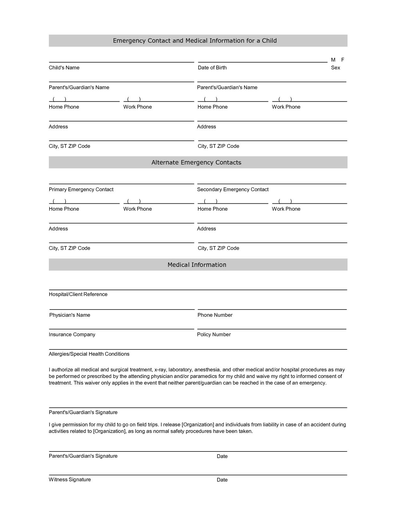 Free Student Information Sheet Template | Student Emergency Contact - Free Printable Customer Information Sheets