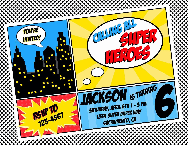 Free Superhero Invitation Templates - Invitation Templates - Free Printable Superhero Birthday Invitation Templates