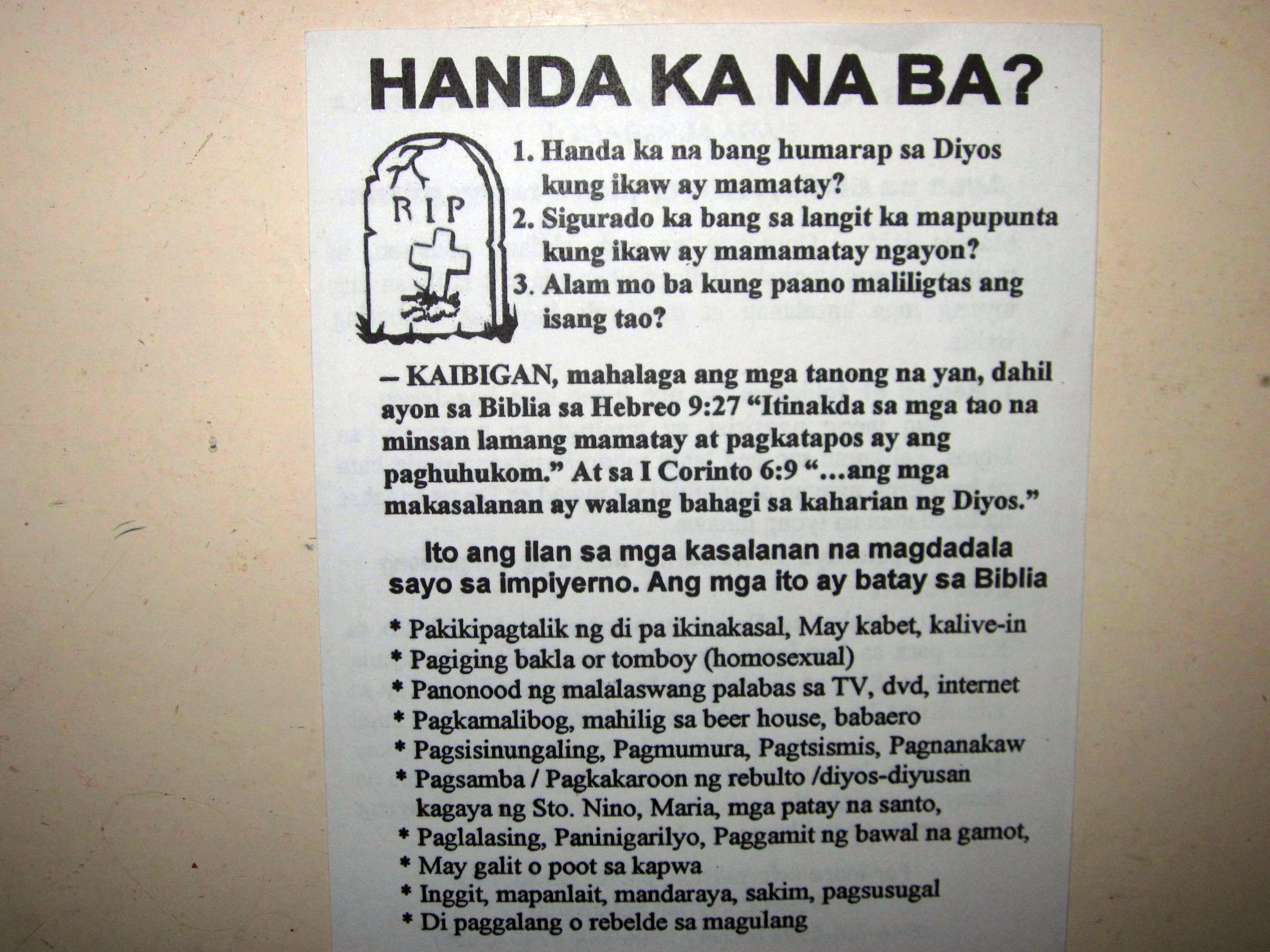 Free Tagalog Tracts | Street Preaching In The Philippines! - Free Printable Tracts For Evangelism
