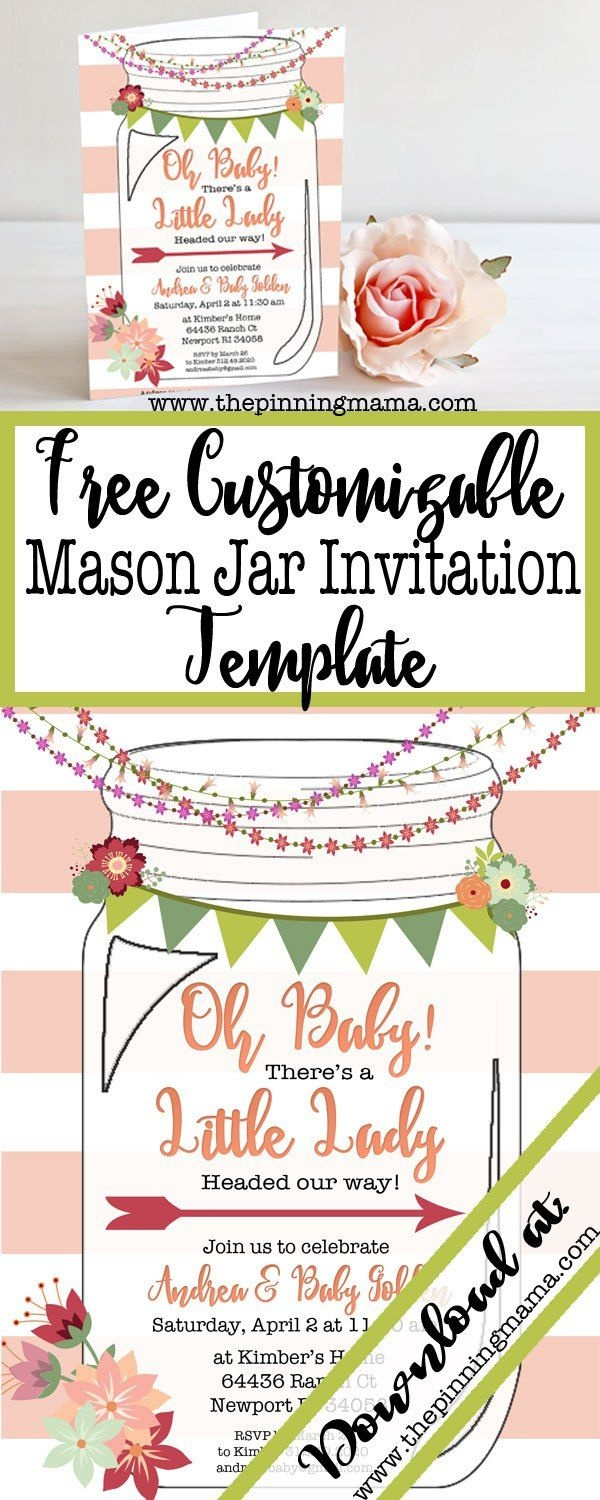 Free Template For A Mason Jar Invitation - Perfect For A Southern Or - Free Mason Jar Wedding Invitation Printable Templates