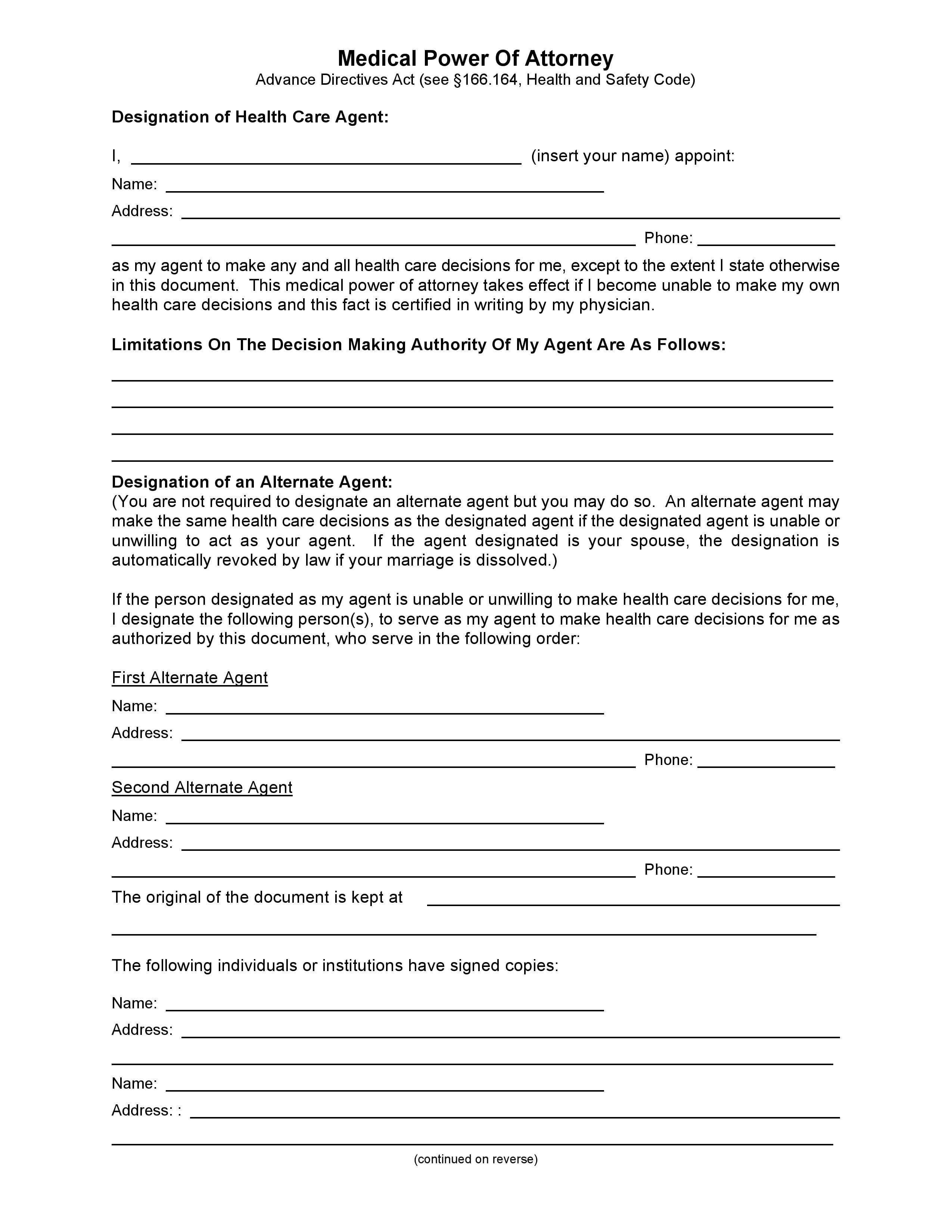Free Texas Medical Power Of Attorney Form | Pdf Template | Form Download - Free Printable Medical Power Of Attorney