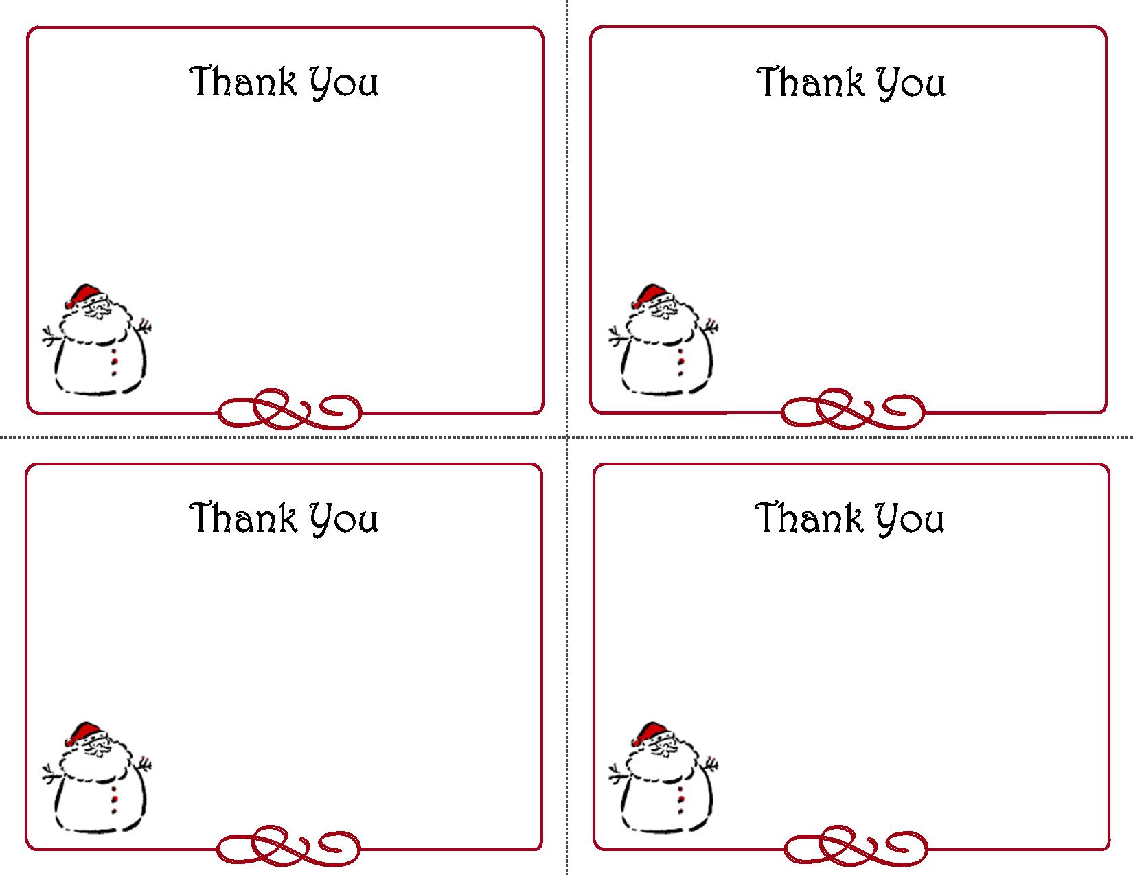 Free Thank You Cards Printable | Free Printable Holiday Gift Tags - Free Printable Thank You Tags Template
