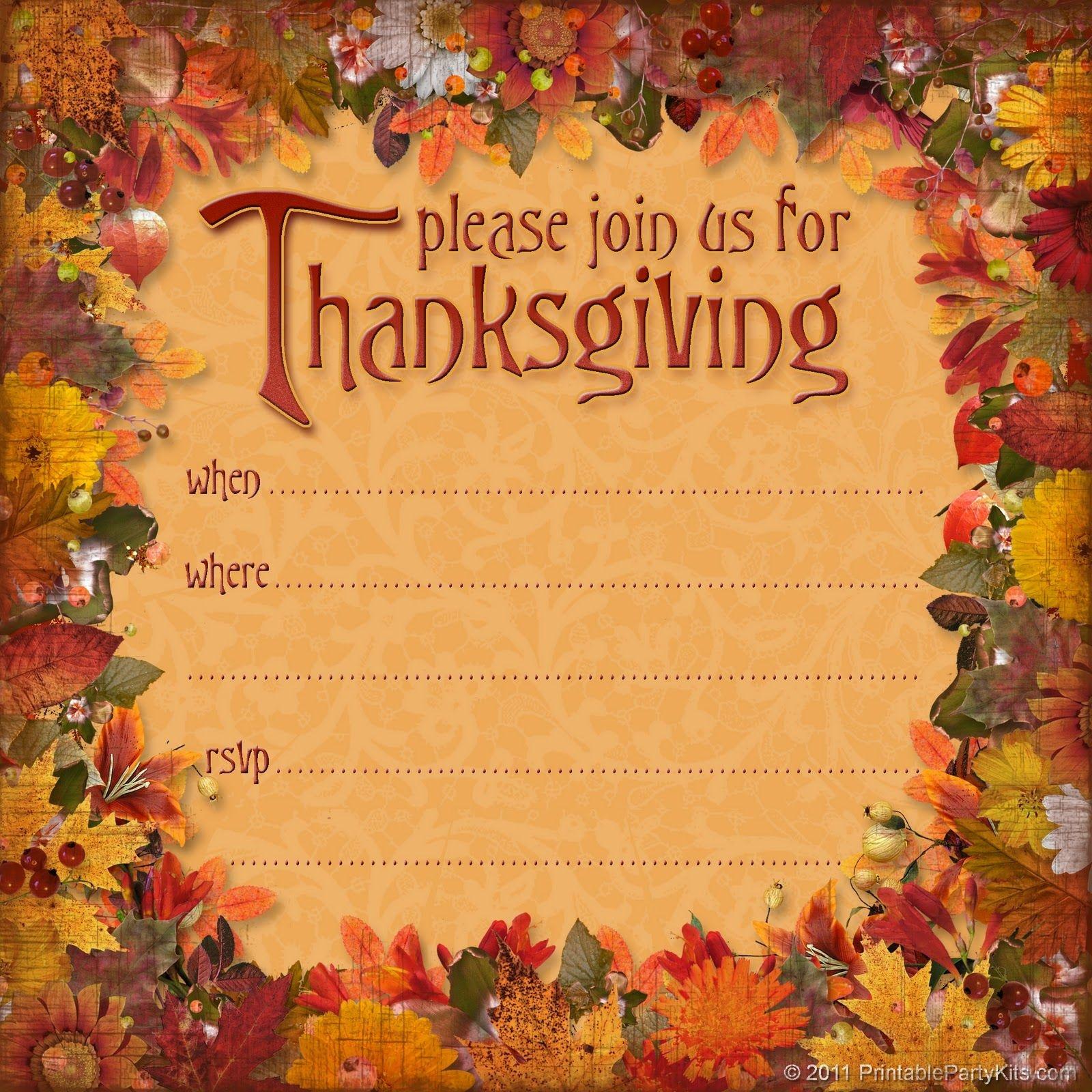Free Thanksgiving Dinner Invitation | Thanksgiving | Thanksgiving - Free Printable Thanksgiving Dinner Invitation Templates