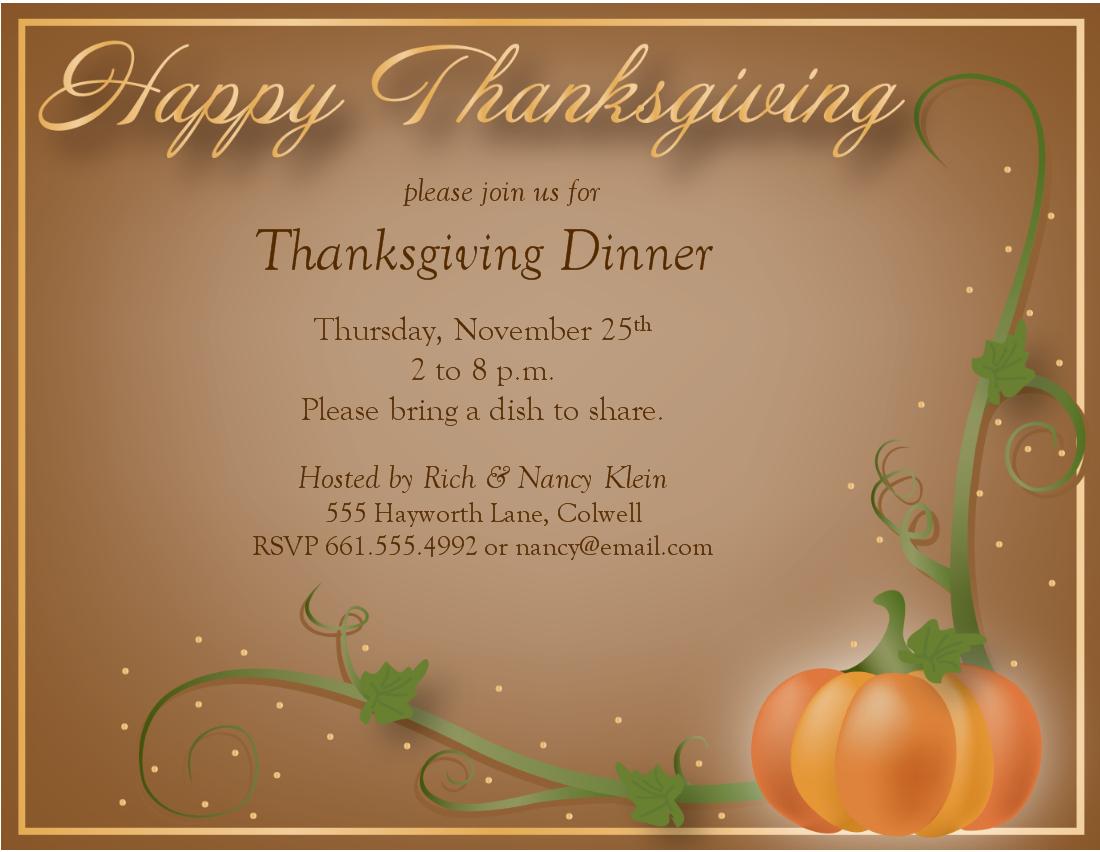 Free Thanksgiving Dinner Invitations Templates – Happy Easter - Free Printable Thanksgiving Dinner Invitation Templates