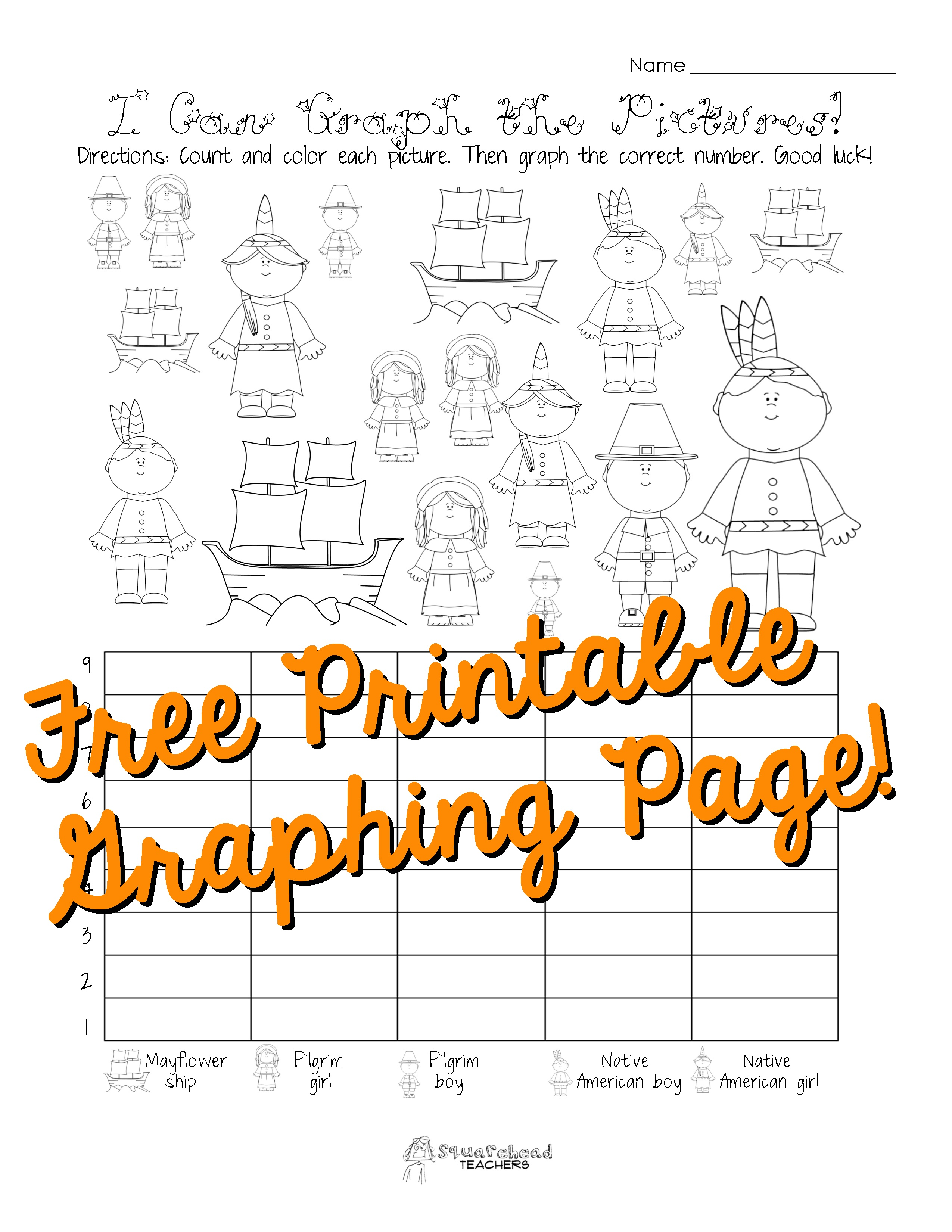 Free Thanksgiving Graphing Worksheet (Kindergarten, First Grade - Free Printable Graphs For Kindergarten