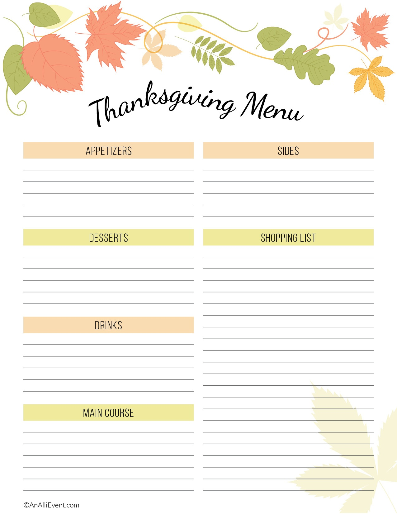 Free Thanksgiving Planner Printable - An Alli Event - Free Printable Thanksgiving Menu Template