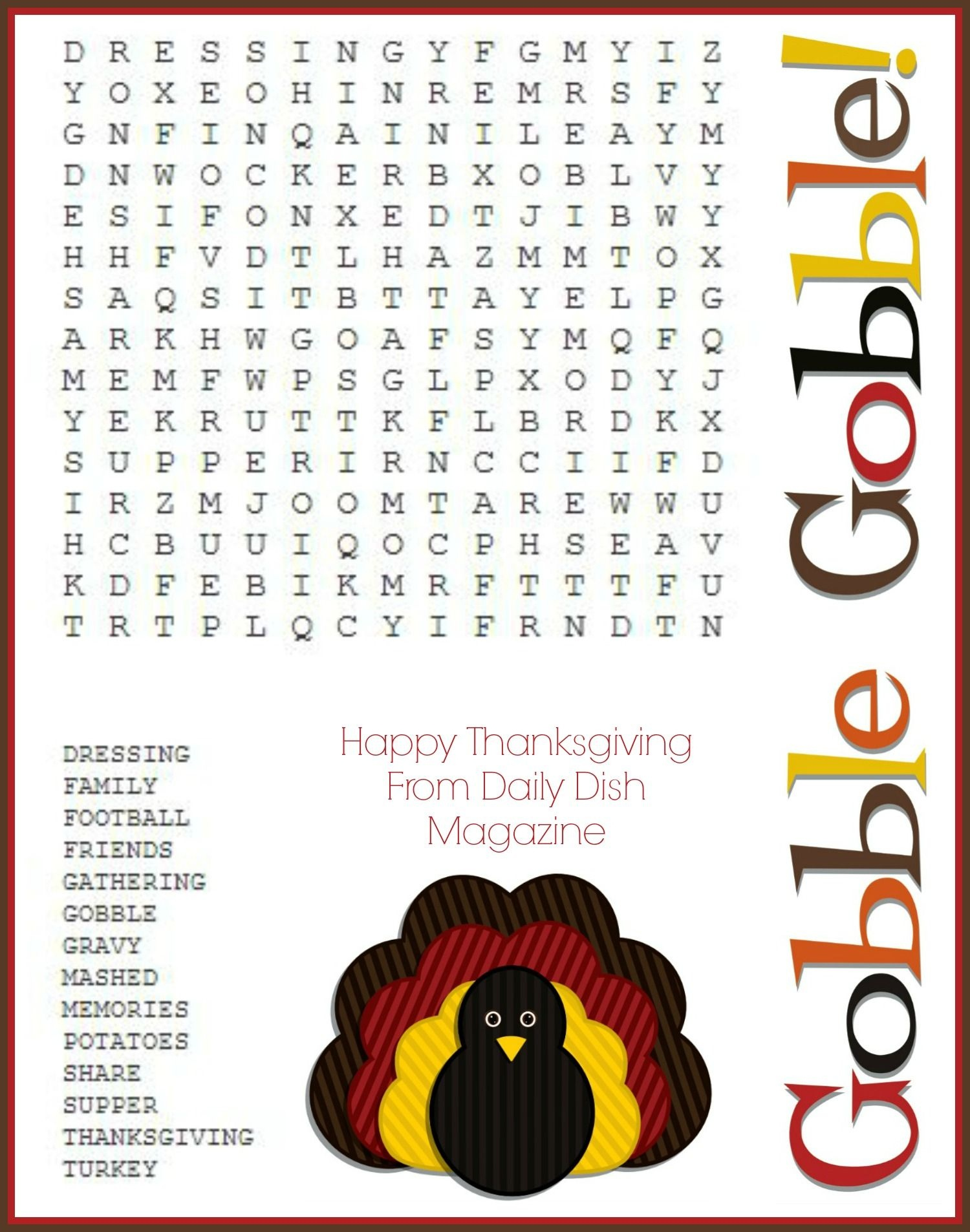 Free Thanksgiving Puzzles ~ Word Search And Maze Printable | Crafty - Thanksgiving Crossword Puzzles Printable Free