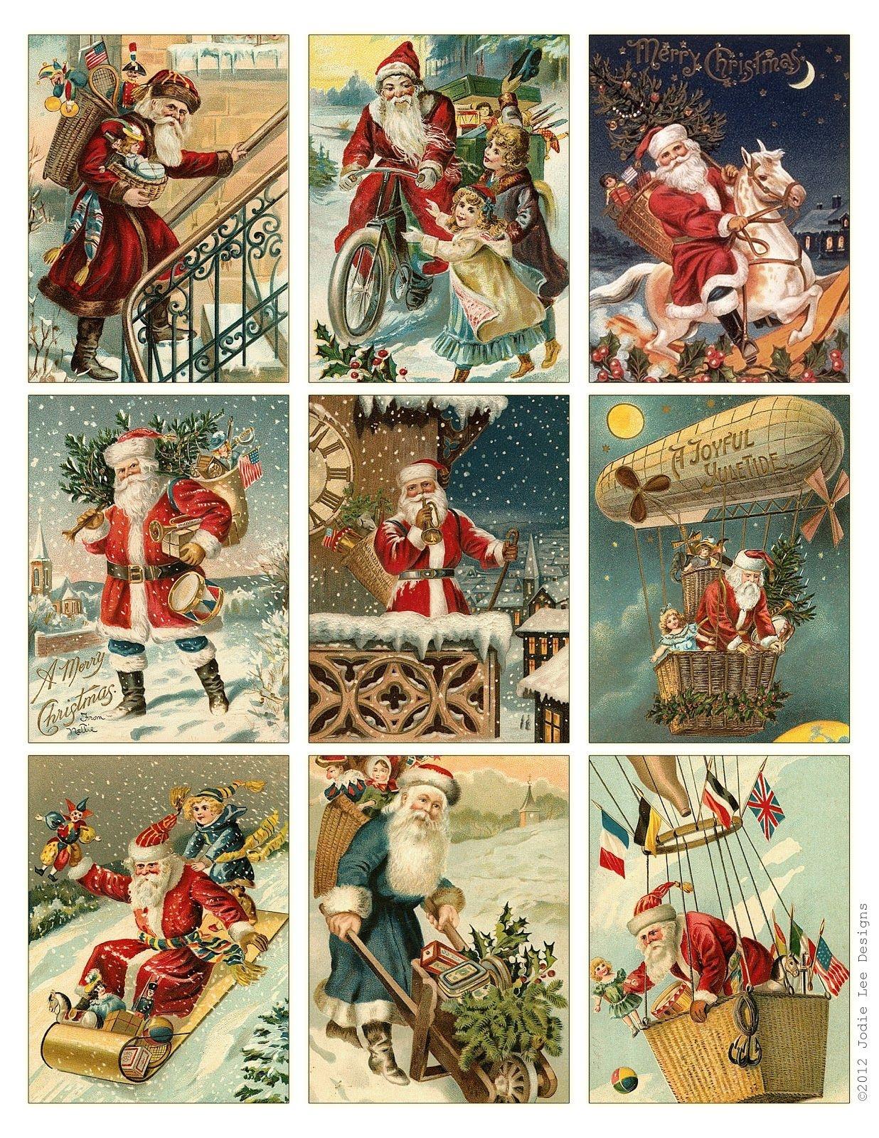 Free To Download! Printable Vintage Santa Tags Or Cards.   Free - Free Printable Vintage Christmas Pictures