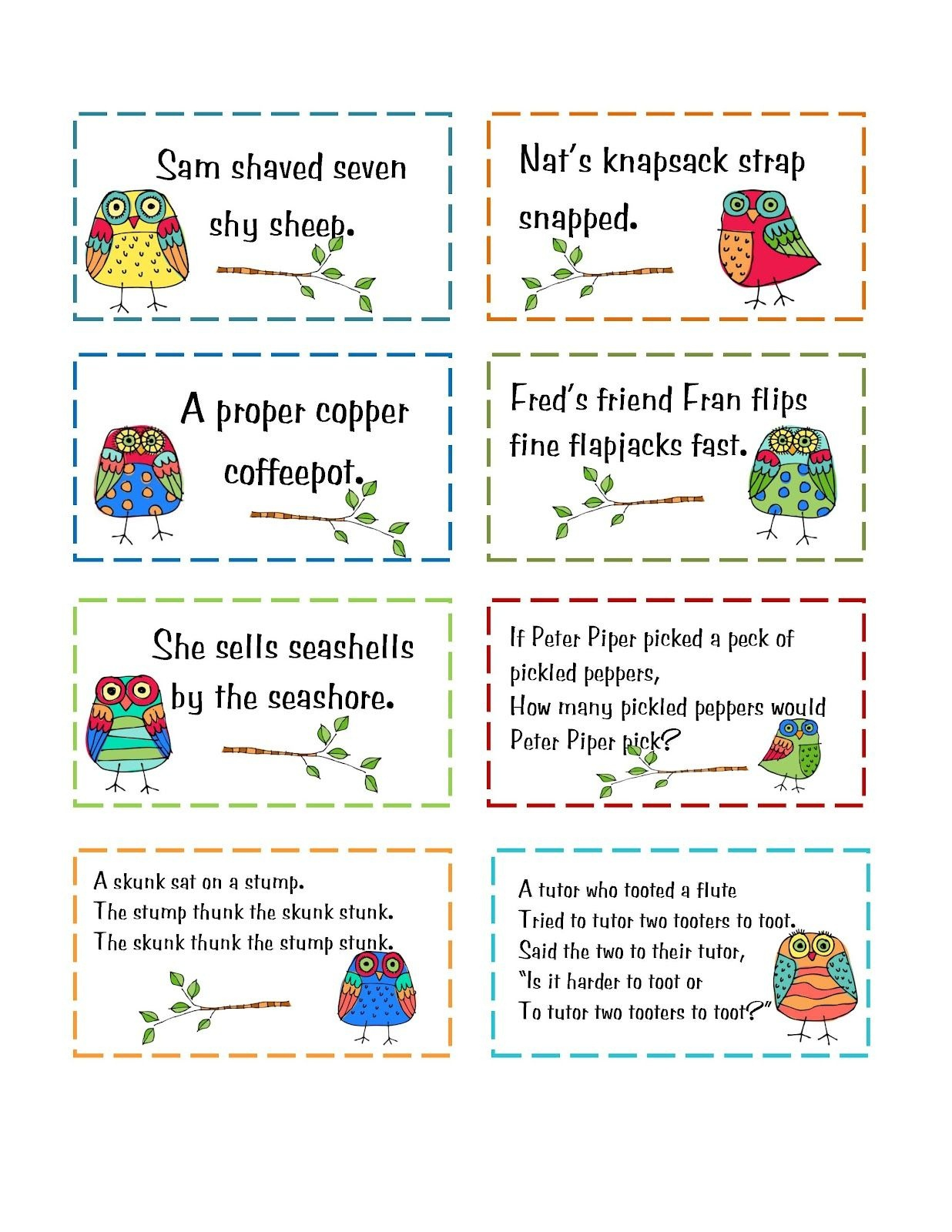 Free Tongue Twister Cards | Printables From Blog Sites | Tongue - Free Printable Tongue Twisters