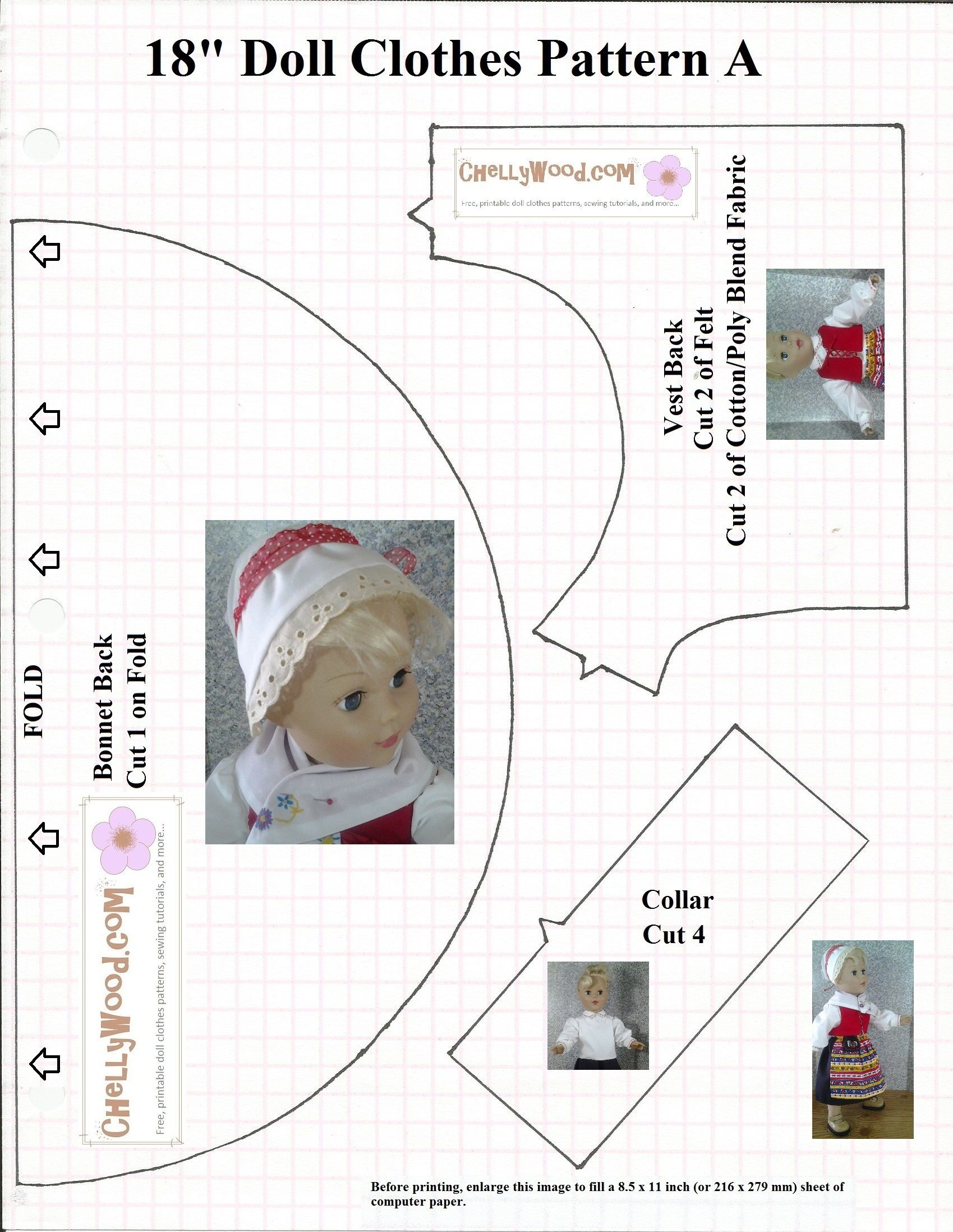 """Free Traditional Swedish Outfit Pattern For 18"""" Dolls - Bonnet - 18 Inch Doll Clothes Patterns Free Printable"""