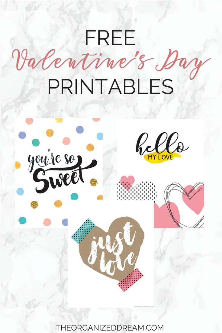 Free Valentine's Day Printables - The Organized Dream - Free Printable Valentine's Day Decorations