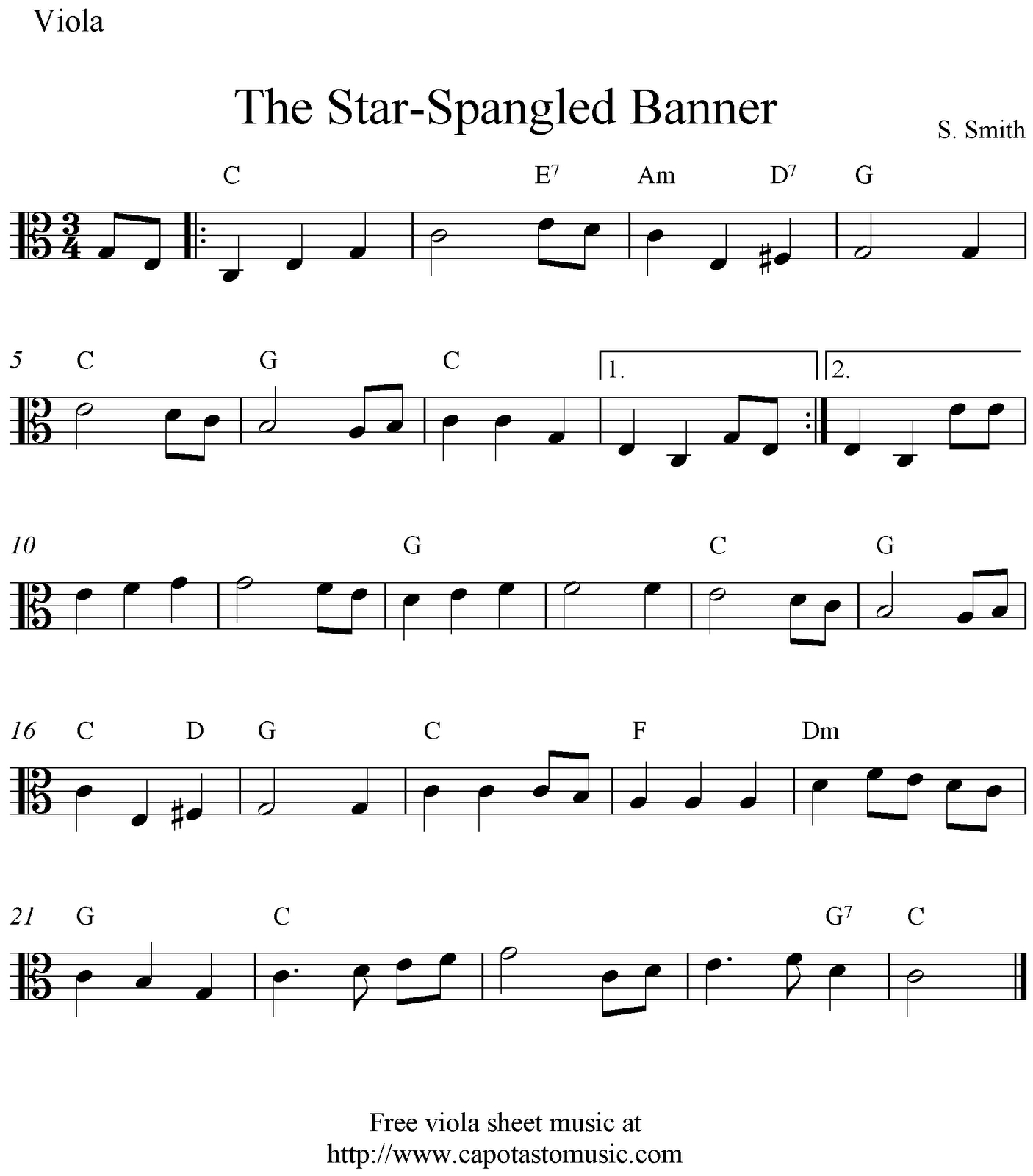 Free Viola Sheet Music, The Star-Spangled Banner - Viola Sheet Music Free Printable