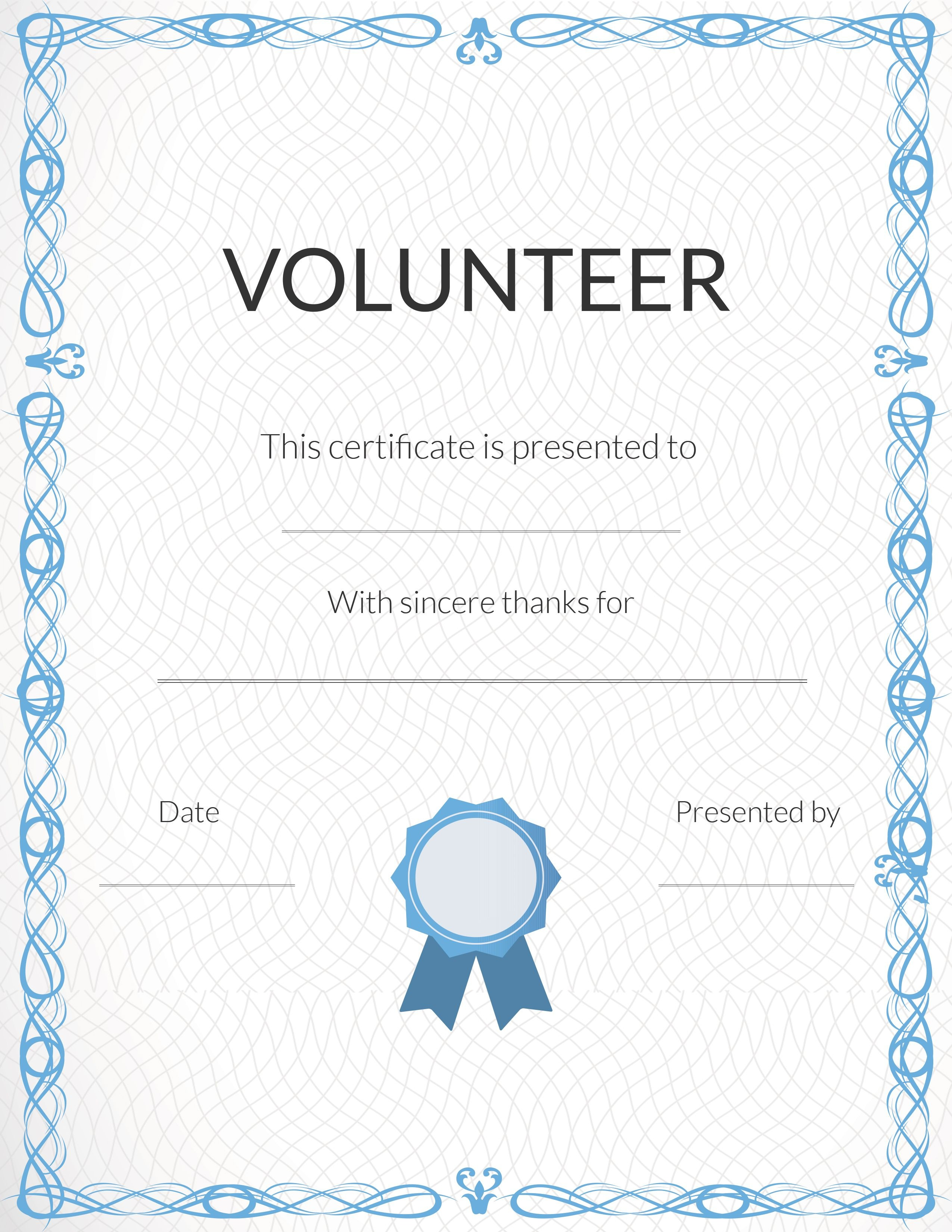 Free Volunteer Appreciation Certificates — Signup - Free Printable Templates For Certificates Of Recognition