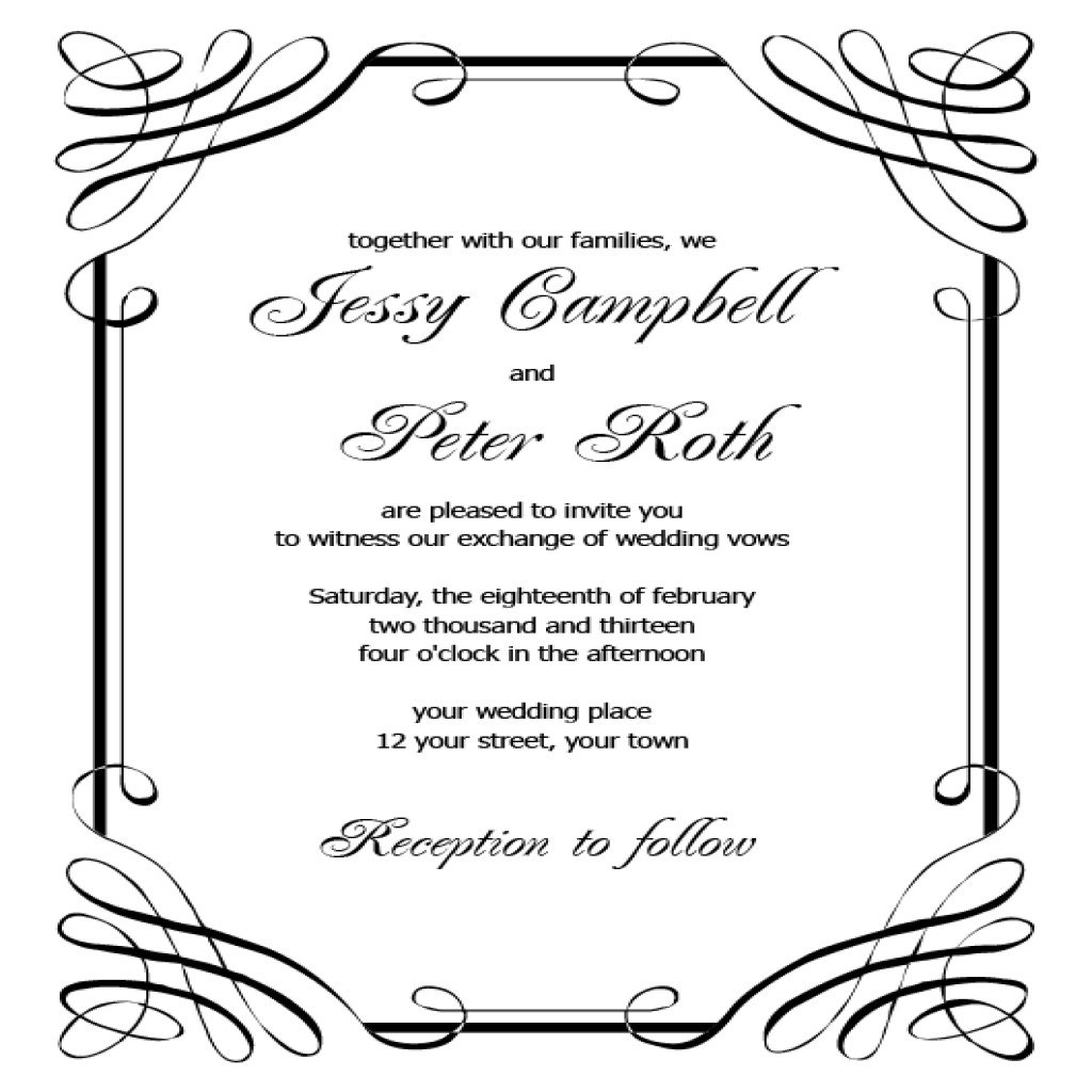 Free Wedding Invitation Templates For Word Free Printable Wedding - Free Printable Wedding Invitation Templates For Microsoft Word